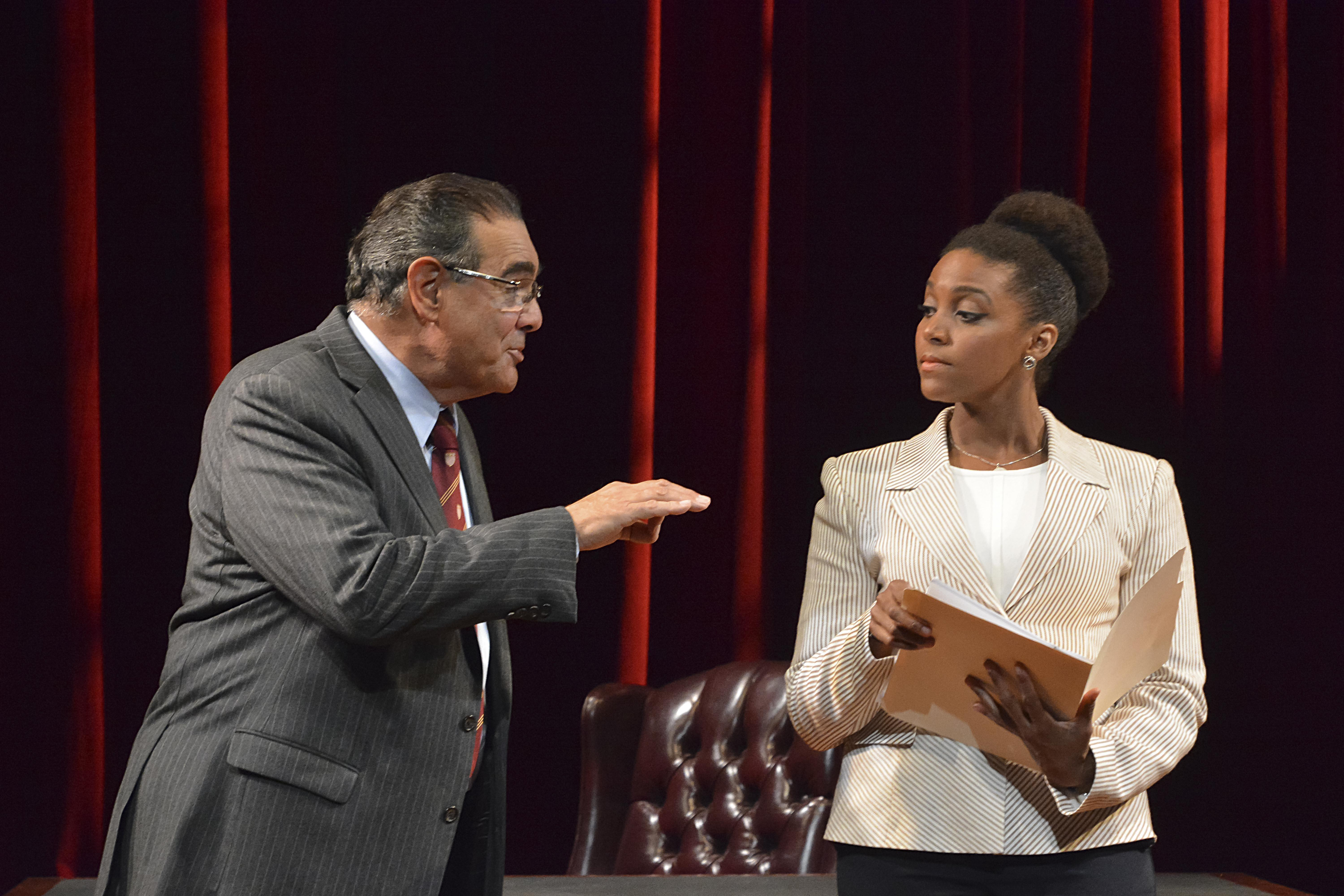 "Edward Gero and Jade Wheeler in ""The Originalist"" at Court Theatre. (Photo by Gary W Sweetman)"
