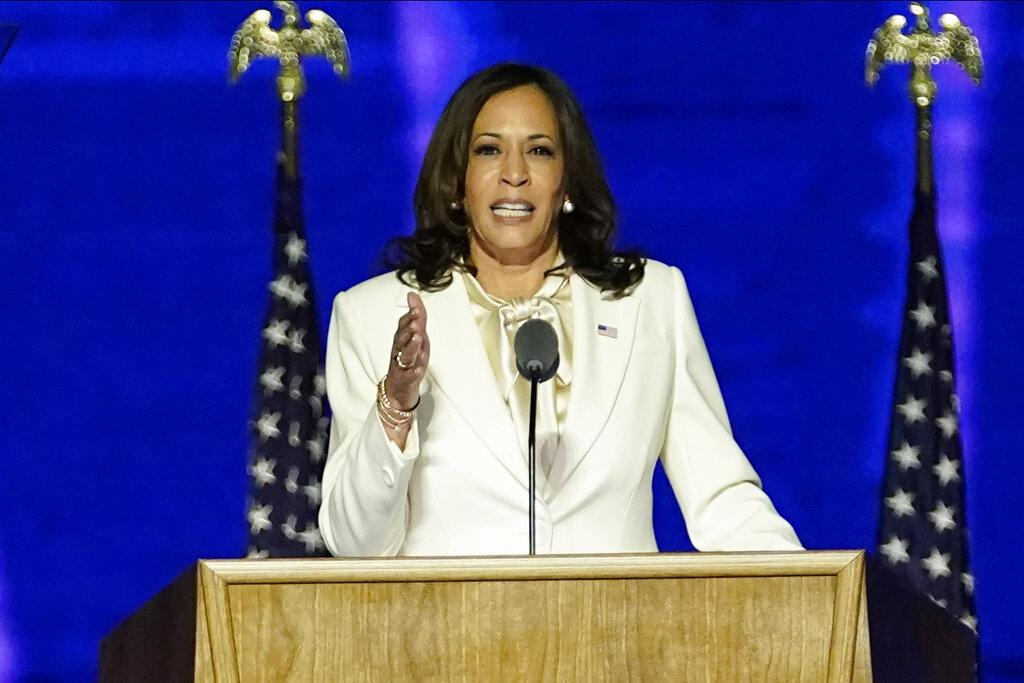 Vice President-elect Kamala Harris speaks, Saturday, Nov. 7, 2020, in Wilmington, Del. (AP Photo / Andrew Harnik, Pool)