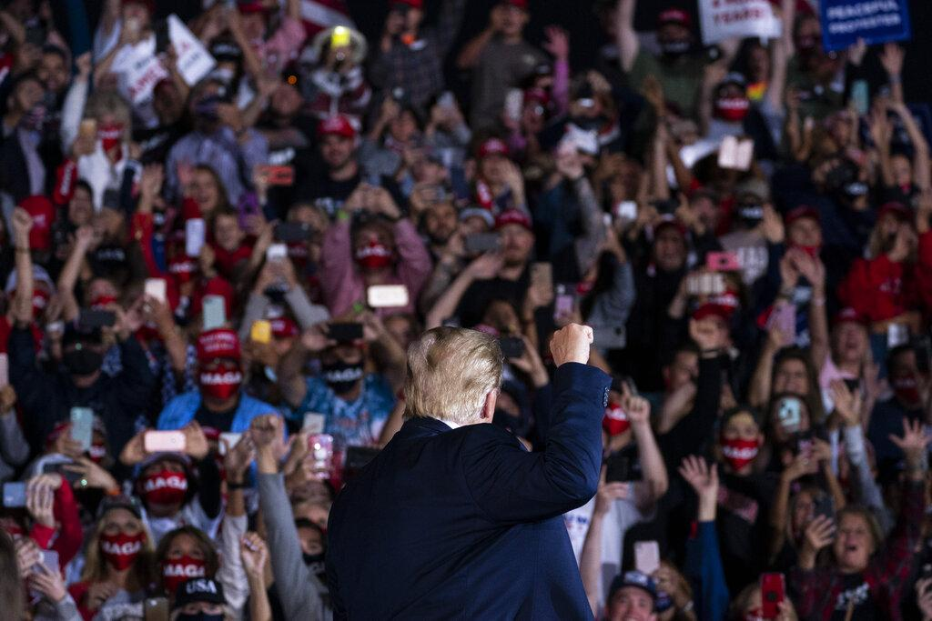 President Donald Trump arrives to speak to a campaign rally at Middle Georgia Regional Airport, Friday, Oct. 16, 2020, in Macon, Ga. (AP Photo / Evan Vucci)