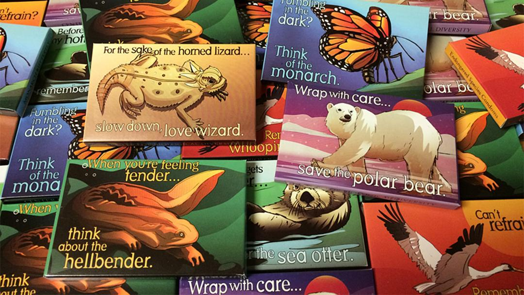 Lincoln Park Zoo will give away hundreds of condom packages with artwork of endangered species. (Center for Biological Diversity / Lori Lieber and Shawn DiCriscio © 2015)