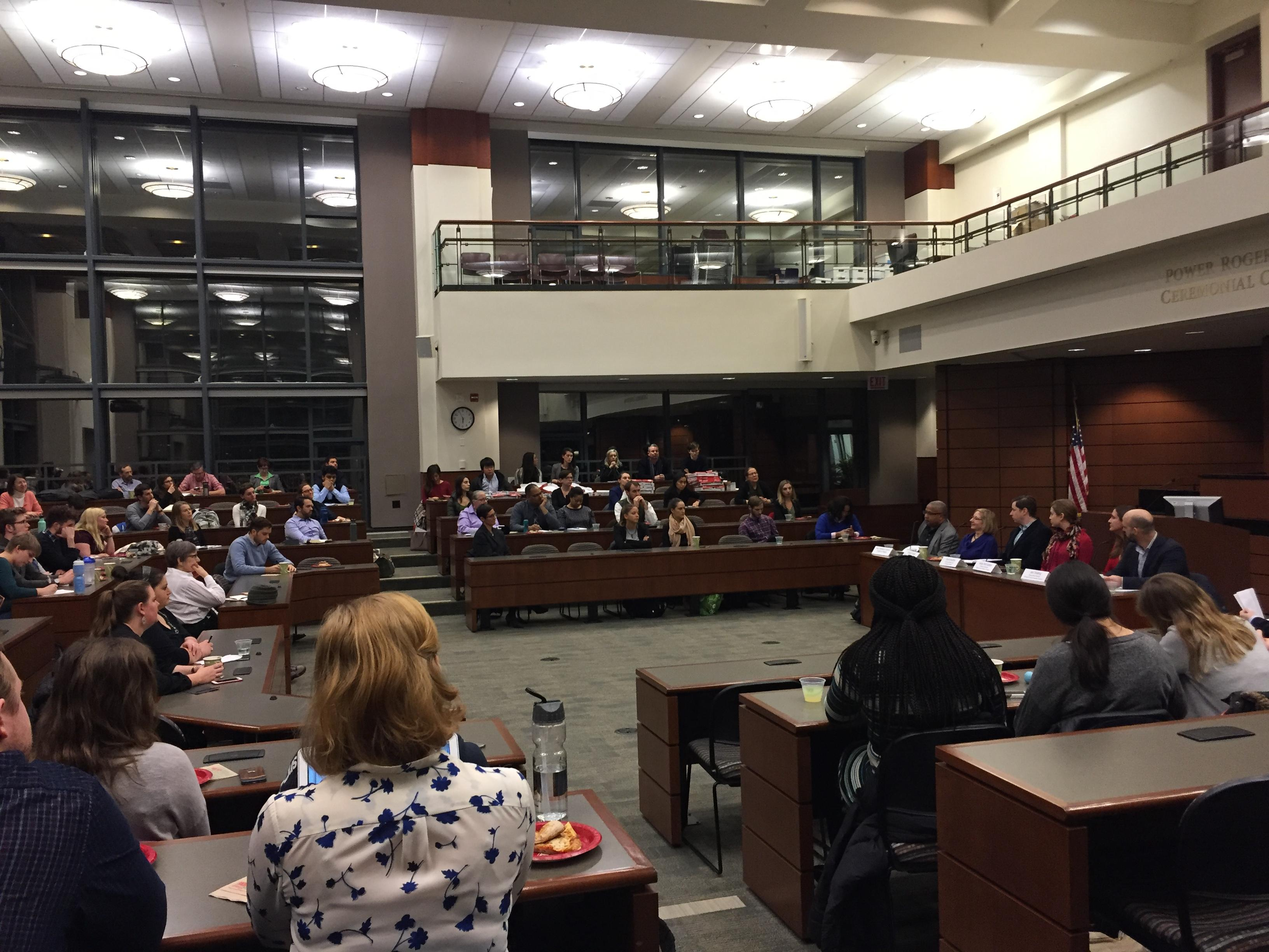 About 100 people gathered Jan. 19 at Loyola University's School of Law to discuss environmental issues for 2017 and beyond. (Alex Ruppenthal / Chicago Tonight)