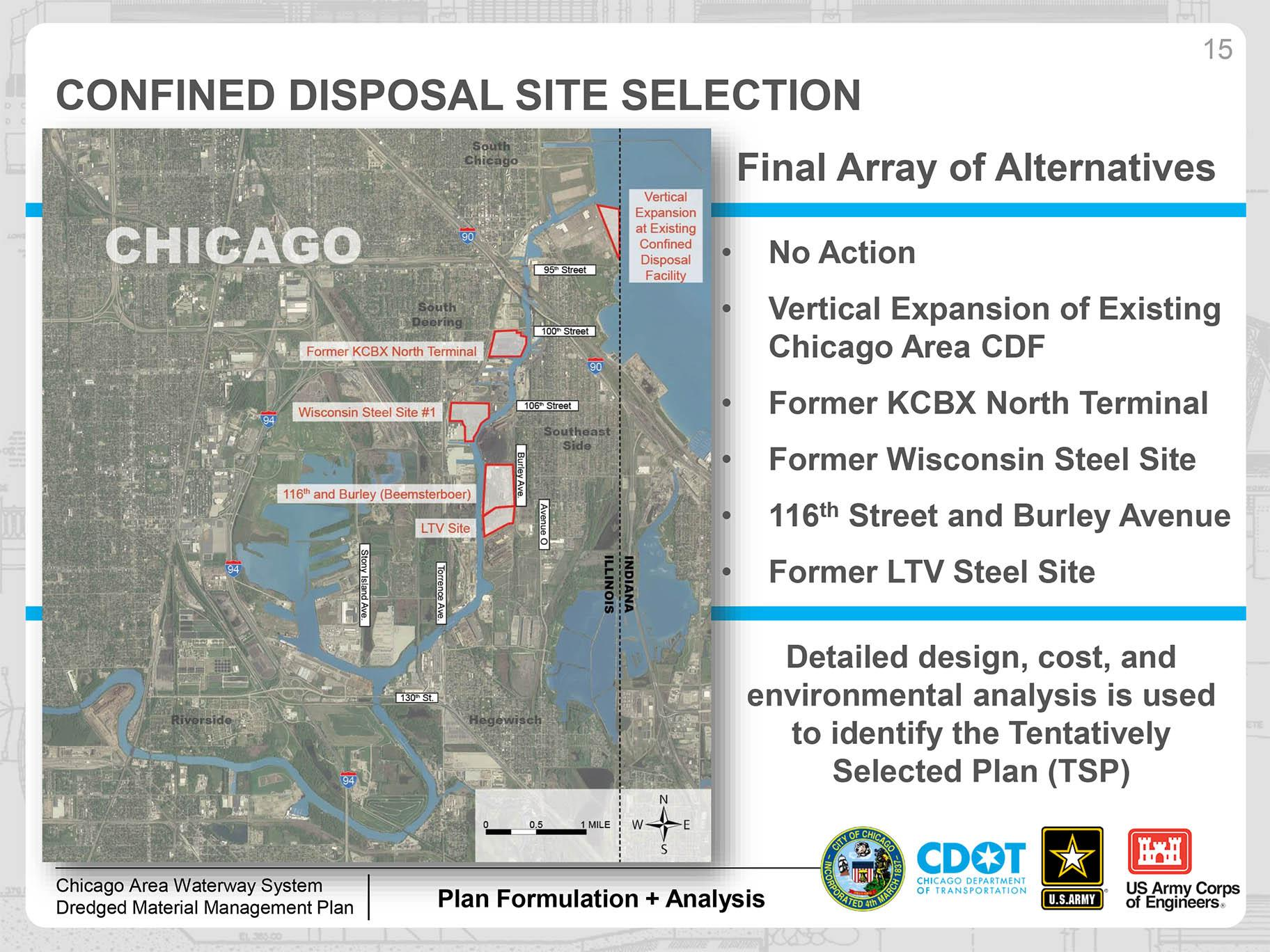 A slide from the Army Corps of Engineers' May 2019 public presentation about its Dredged Material Management Plan (DMMP) in Chicago. Click to enlarge.