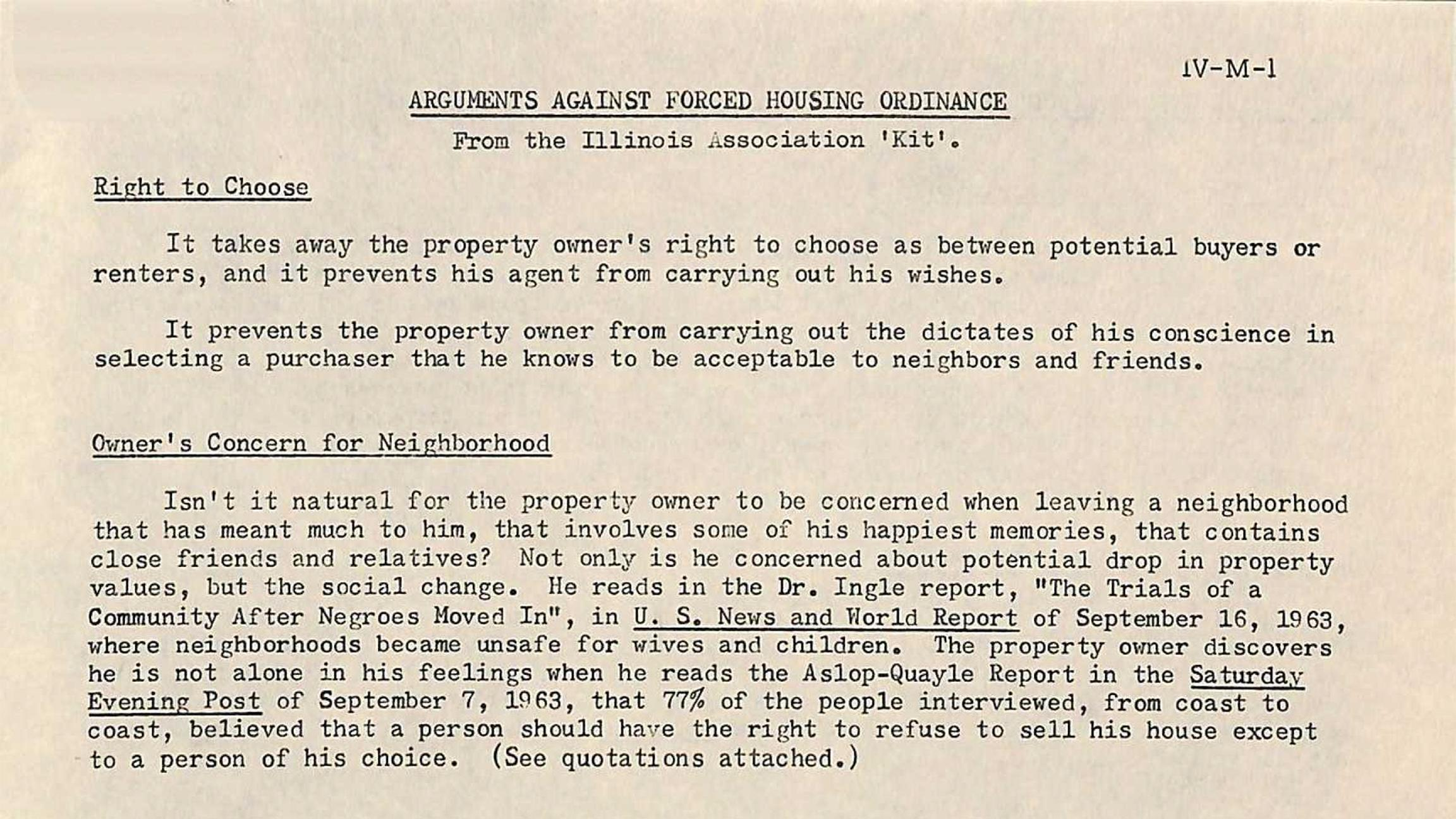 "Document: ""Arguments Against Forced Housing Ordinance"" (Courtesy National Association of Realtors library)"