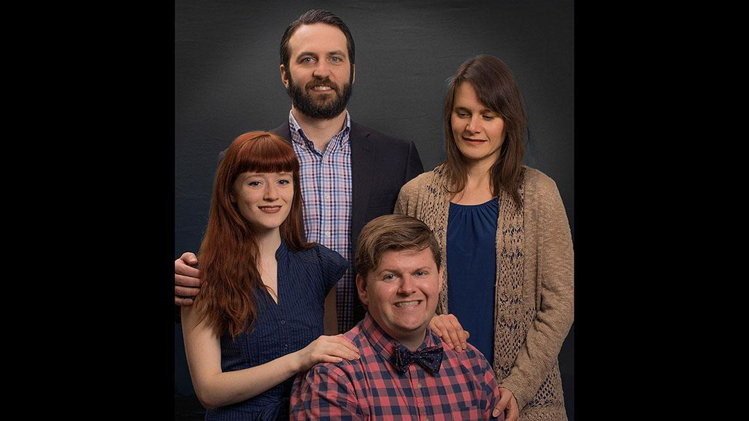 Tristin Hall, Nick Freed, Justin Tsatsa and Amy Johnson (left to right) are staring in Deana Jent's play, FALLING. (Courtesy of Interrobang Theater)