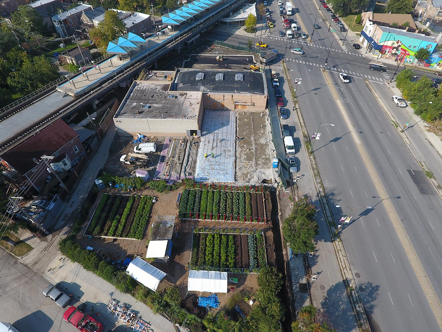 An overhead view of the Farm on Ogden site during construction in summer 2017 (Courtesy Chicago Botanic Garden)
