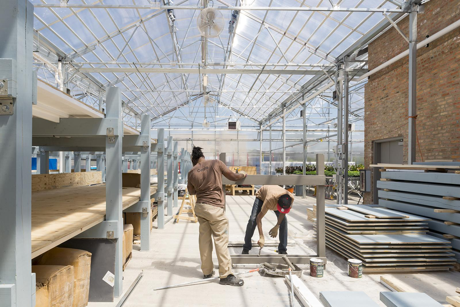 Participants in Windy City Harvest's Corps training program construct a platform for the Farm on Ogden's aquaponics system. (Courtesy Chicago Botanic Garden)