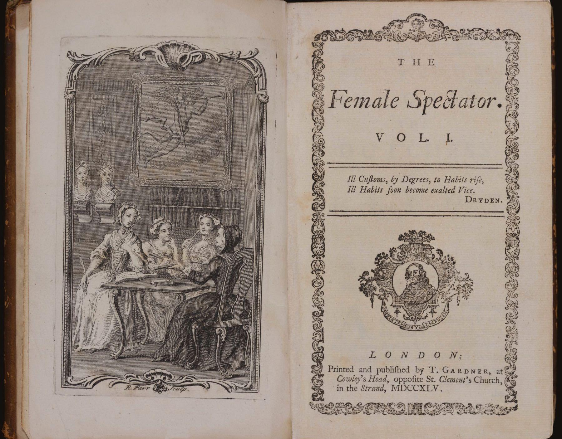 "A copy of ""The Female Spectator,"" the ""Lady Whistledown"" of its day. (Courtesy of the Newberry Library)"