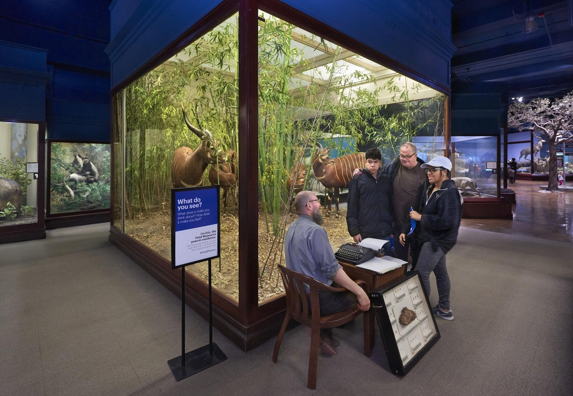 Eric Elshtain interacts with guests in front of dioramas at the Field Museum. (John Weinstein / The Field Museum)