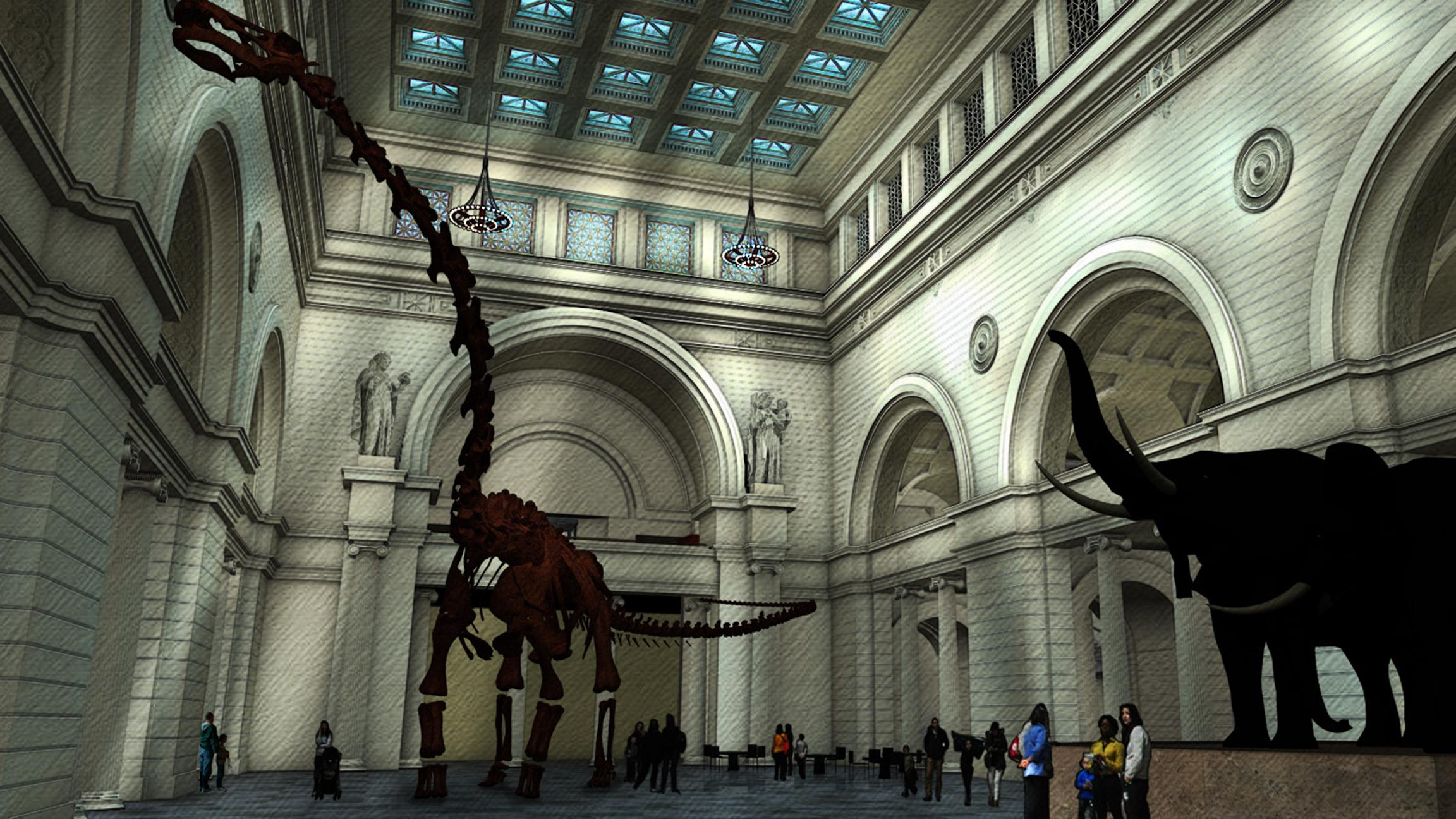 A rendering of Field Museum's new titanosaur, which debuts June 1. (Courtesy The Field Museum)