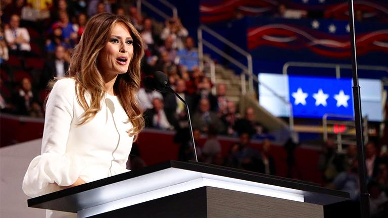 Melania Trump's speech on the first day of the Republican National Convention drew controversy. (Evan Garcia)