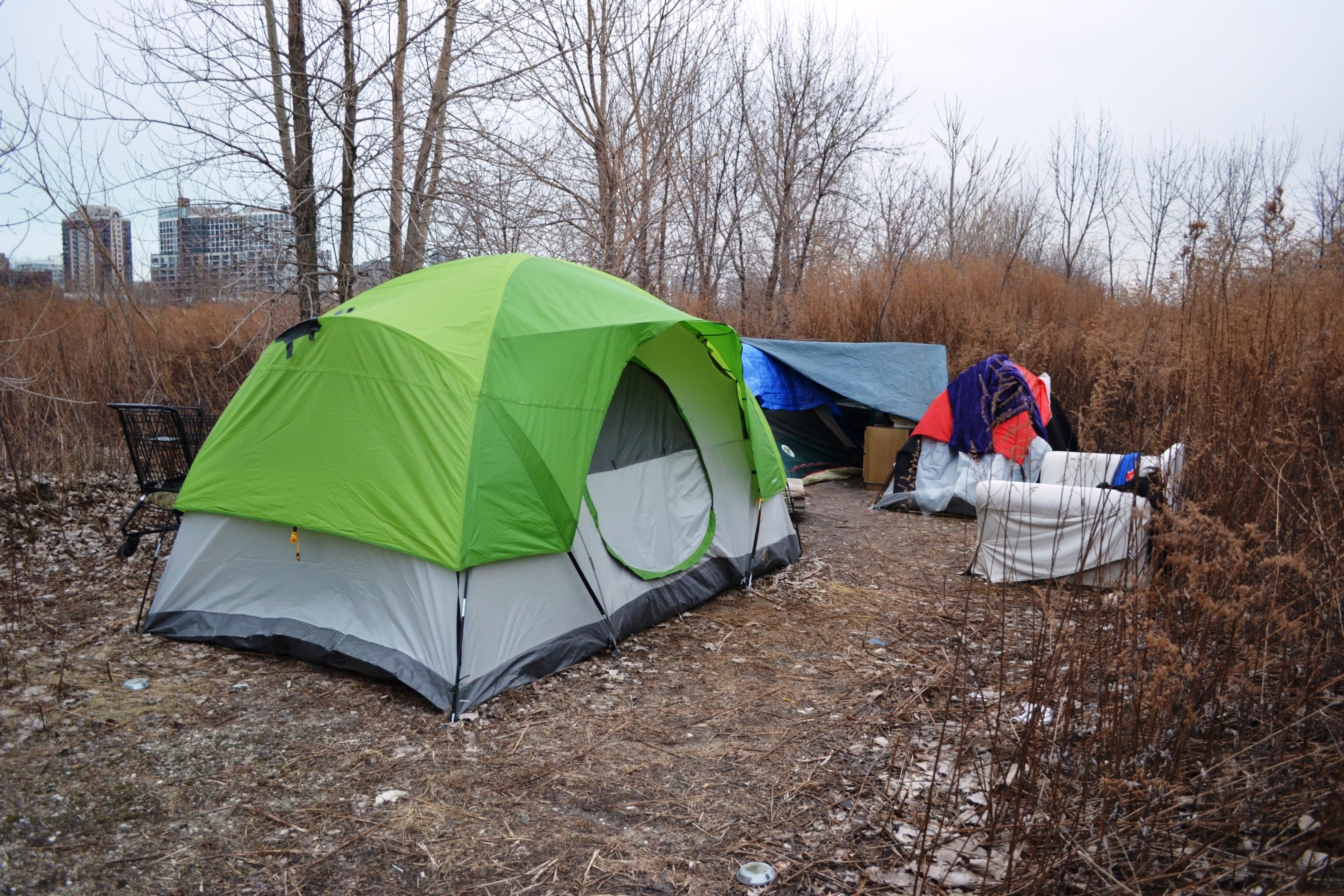 One of several tents located on a 62acre swath of abandoned property