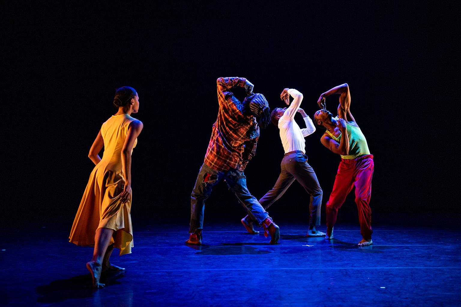 "Briana Arthur, Joshua L. Ishmon, Joshua Henry and Pierre Clark in ""Flack."" (Photo by Michelle Reid)"