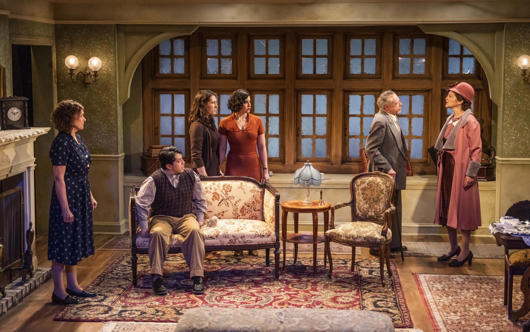 "From left: Lynda Shadrake, Israel Antonio, Ella Pennington, Krystal Ortiz, Tim Newell and Cindy Marker in Griffin Theatre Company's production of ""For Services Rendered."" (Photo by Michael Brosilow)"