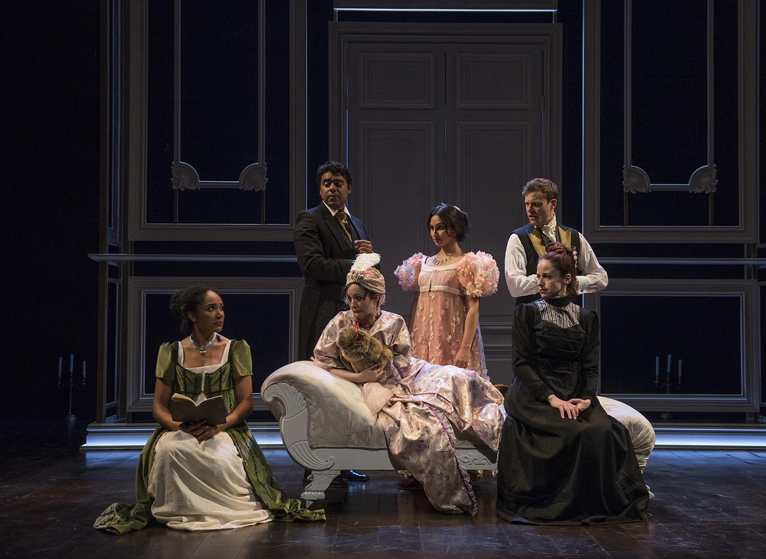 "A scene from the world premiere of ""Mansfield Park"" at Northlight Theatre. Front, from left: Kayla Carter, Kate Hamill and Heidi Kettenring. Back, from left: Gabriel Ruiz, Anu Bhatt and Curtis Edward Jackson. (Photo credit: Michael Brosilow)"