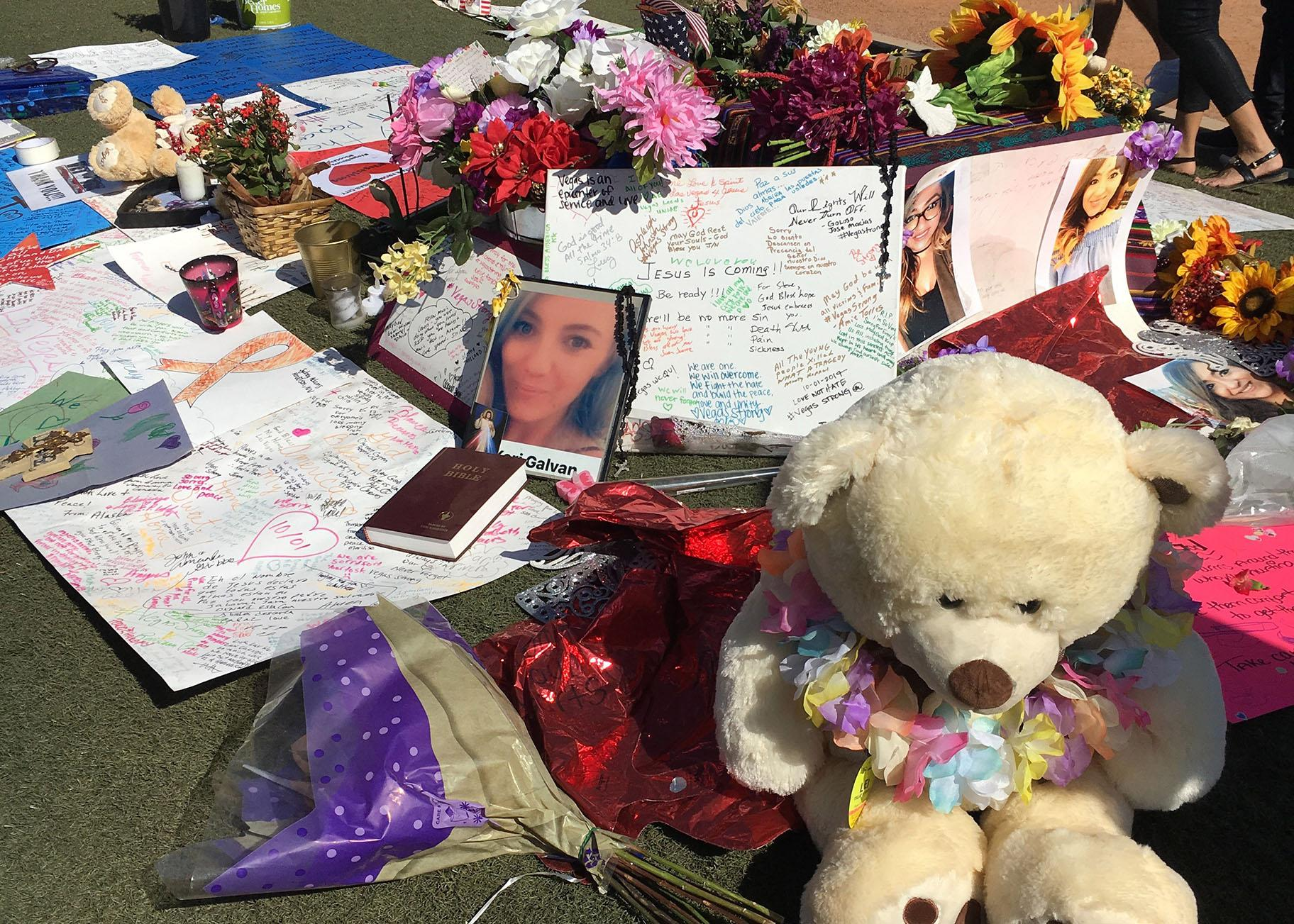 A memorial in Las Vegas for victims of the Oct. 1, 2017 shooting that left 58 dead and more than 500 wounded. (Jay Smith / WTTW News)