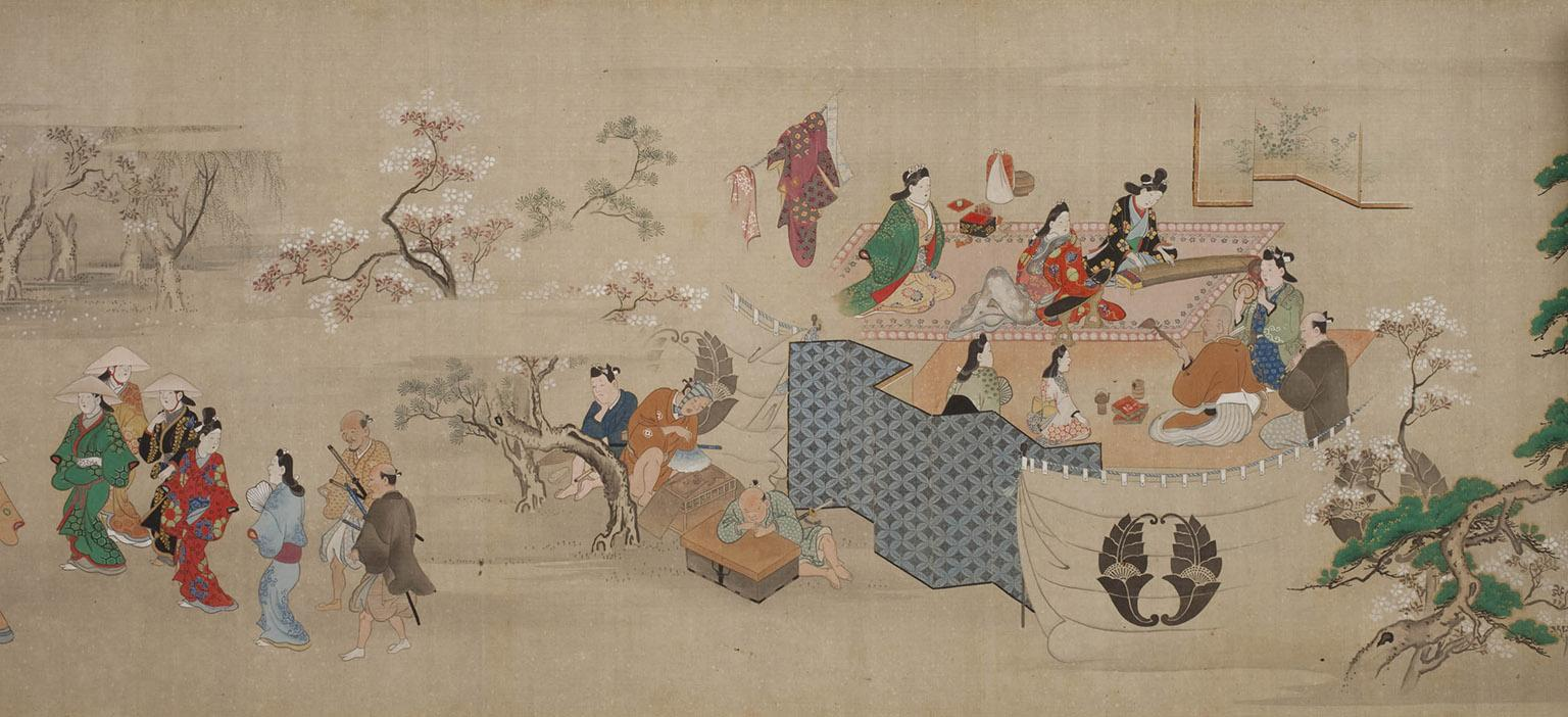 (Hishikawa Moronobu. Detail of Genre Scenes of Edo,1688/1704. Weston Collection.)
