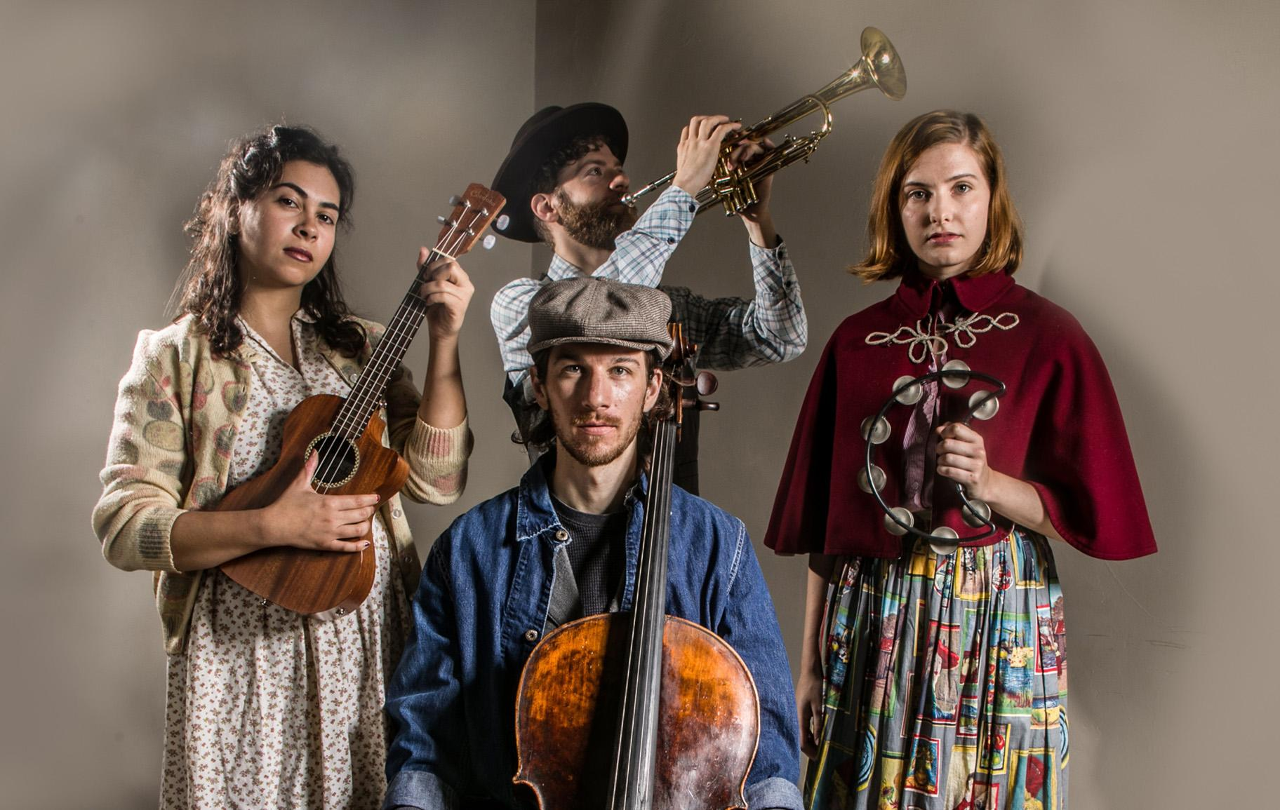 "From left, front: Amanda Raquel Martinez, Alexander Ellsworth and Rachel Guth with TJ Anderson, center back, in ""Ghost Quartet."" (Photo by Cole Simon)"