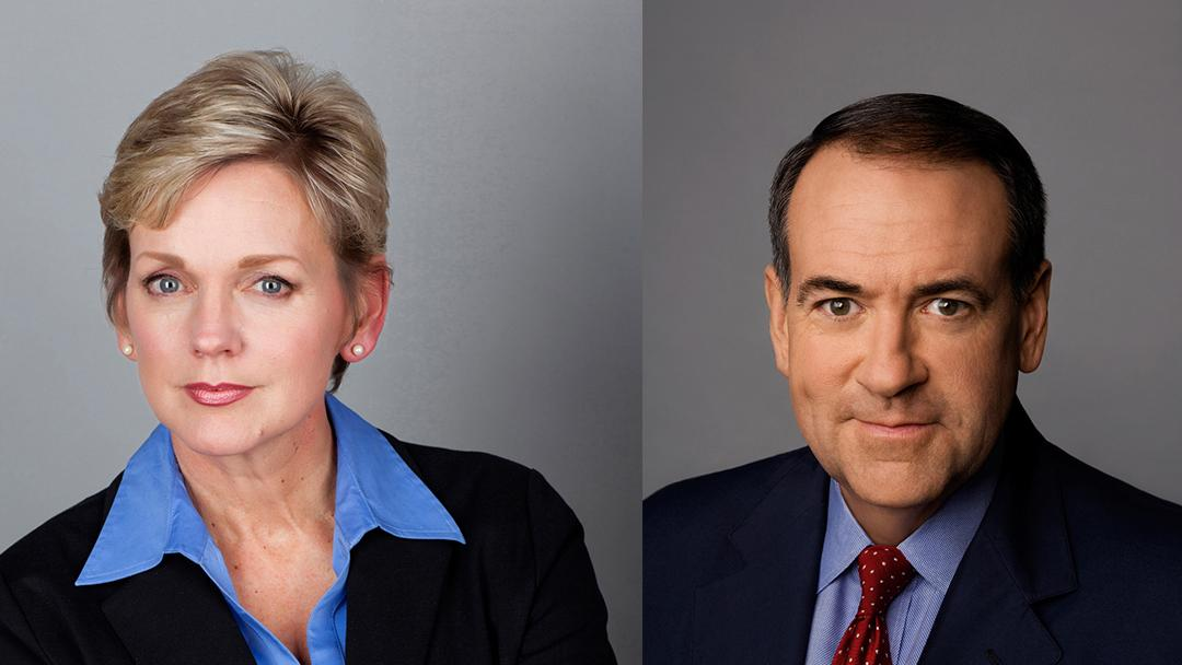 Former Govs. Jennifer Granholm (D-MI) and Mike Huckabee (R-AR) (Courtesy of Spertus Institute for Jewish Learning and Leadership)