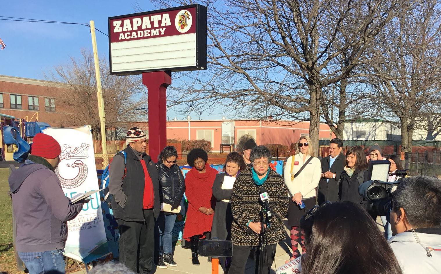 Peggy Salazar, director of the Southeast Environmental Task Force, speaks during a press conference Friday calling on Chicago to step up efforts to combat pollution on the city's South and West Sides. (Courtesy Little Village Environmental Justice Organization)