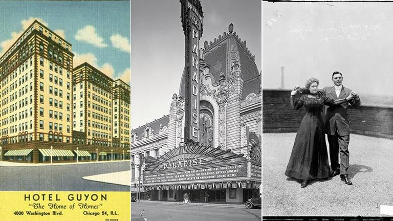 From left: Guyon Hotel, Paradise Theater and Mr. and Mrs. Guyon.