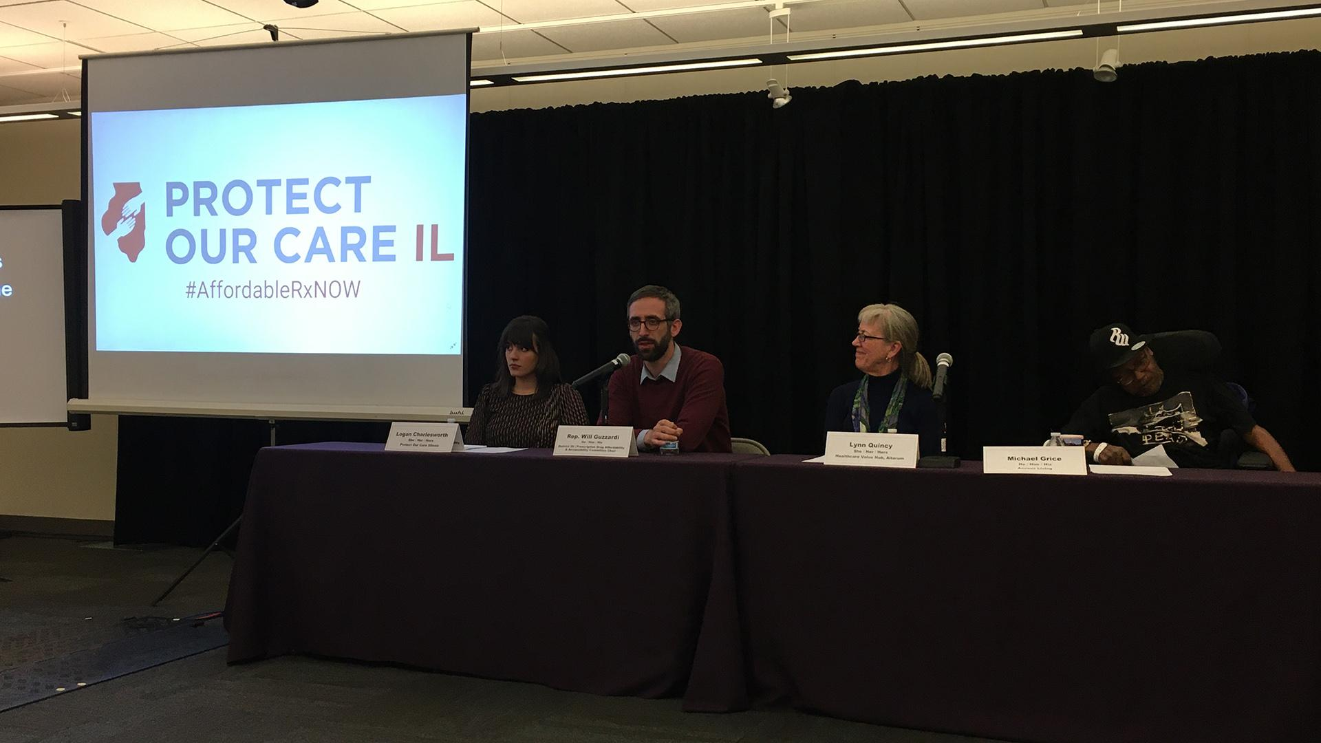 Illinois Rep. Will Guzzardi (second from left) speaks Monday, Feb. 24, 2020 at a press conference about a newly released statewide survey that found the majority of Illinois residents are concerned about future health care costs. (Kristen Thometz / WTTW News)