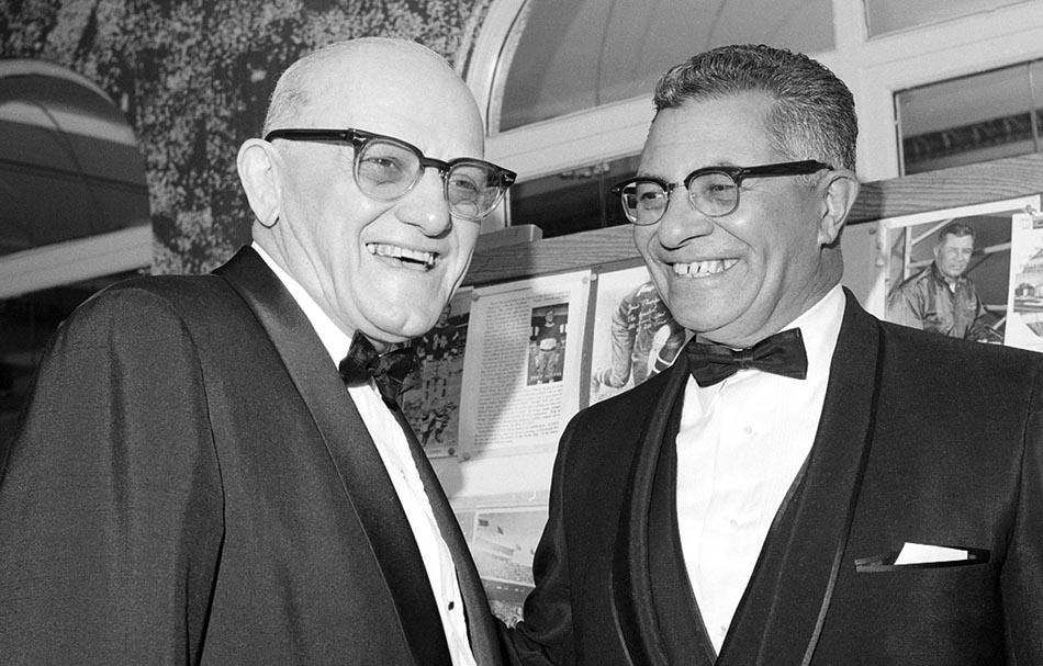 George Halas, left, and Vince Lombardi in 1968