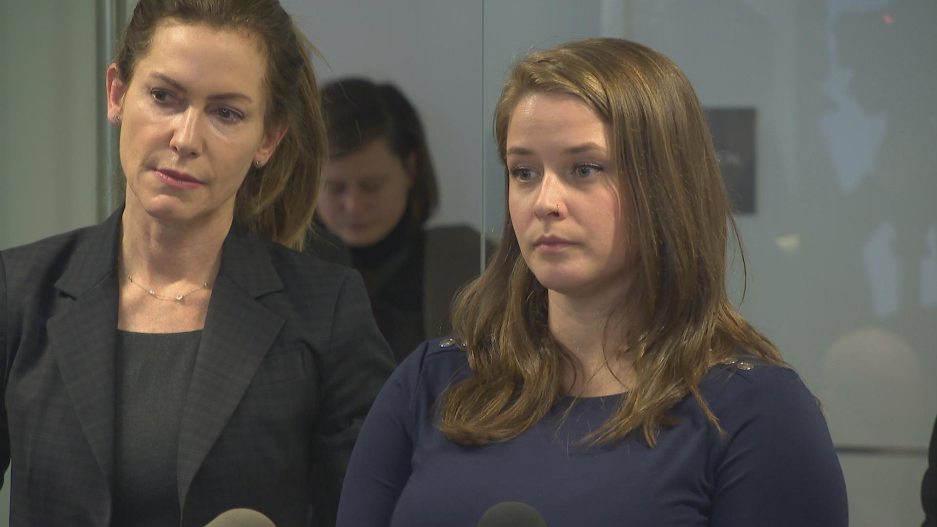 Alaina Hampton, right, speaks to the media Feb. 13, 2018 with her spokesperson Lorna Brett.