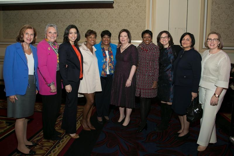 Guests at the Women in the Forefront luncheon from left to right: Ilene Gordon, Carla Michelotti, Jamie-Clare Colvin, Kym Hubbard, TCN Board Chair Donna Thompson, TCN President & CEO Kate Bensen, Mellody Hobson, Sally Blount, Kapila Anand and Elizabeth Hartigan Connelly. (Courtesy of The Chicago Network)