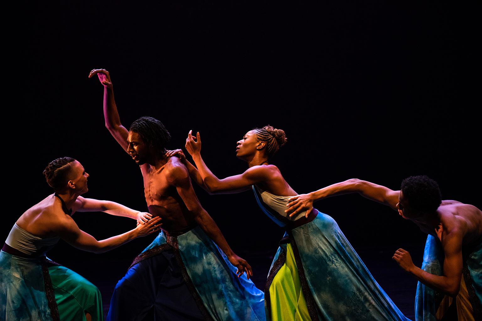 "Rebekah Kuczma, Ricky Davis, Dominique Atwood and Ahmad Hill of Deeply Rooted Dance Theater perform ""Heaven."" (Photo by Michelle Reid)"