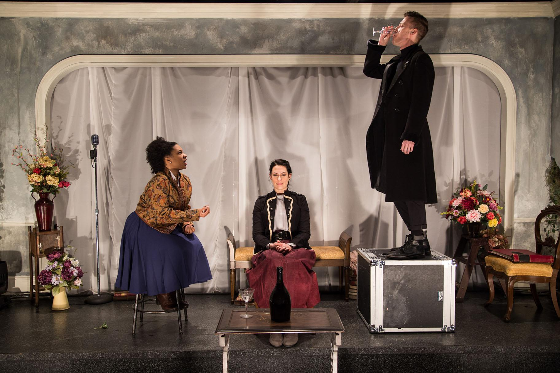 "From left: Aziza Macklin, Lauren Demerath and Kevin V. Smith in ""Hedda Gabler: A Play with Live Music."" (Photo by Austin D. Oie)"