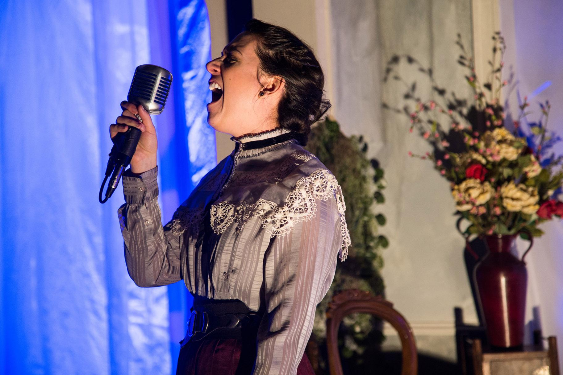 "Lauren Demerath in TUTA Theatre's world premiere adaptation of ""Hedda Gabler: A Play with Live Music."" (Photo by Austin D. Oie)"