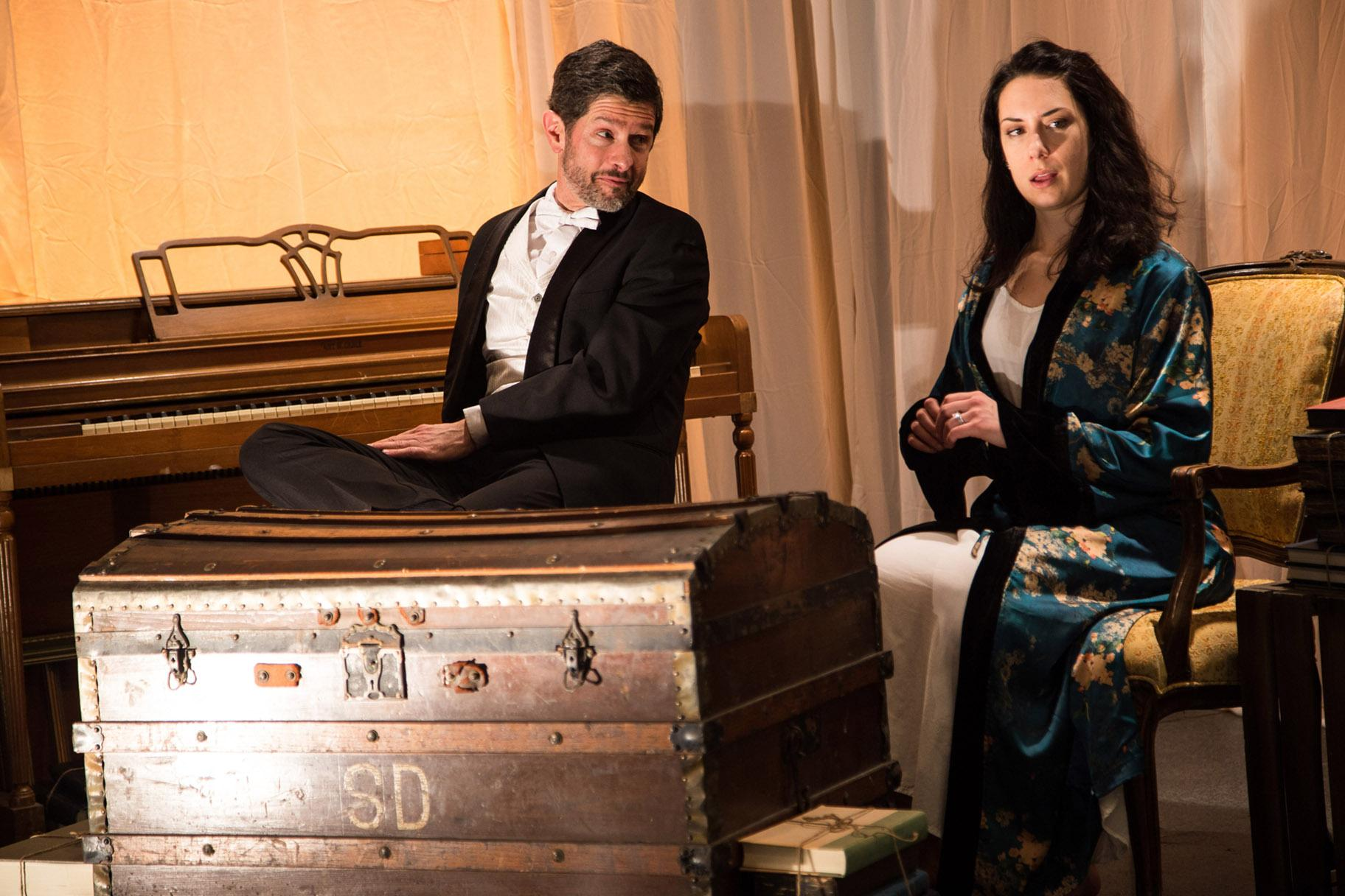 "Tom Dacey Carr and Lauren Demerath in ""Hedda Gabler: A Play with Live Music."" (Photo by Austin D. Oie)"