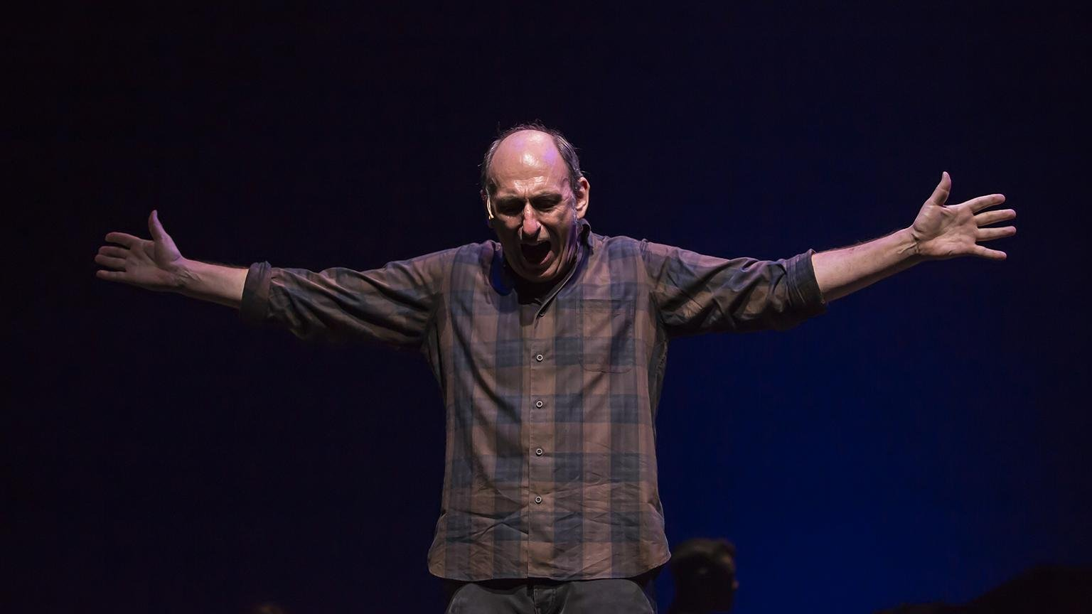 "Playwright and performer David Cale in his world premiere solo musical memoir ""We're Only Alive for A Short Amount of Time,"" directed by Robert Falls at Goodman Theatre. (Credit: Liz Lauren)"