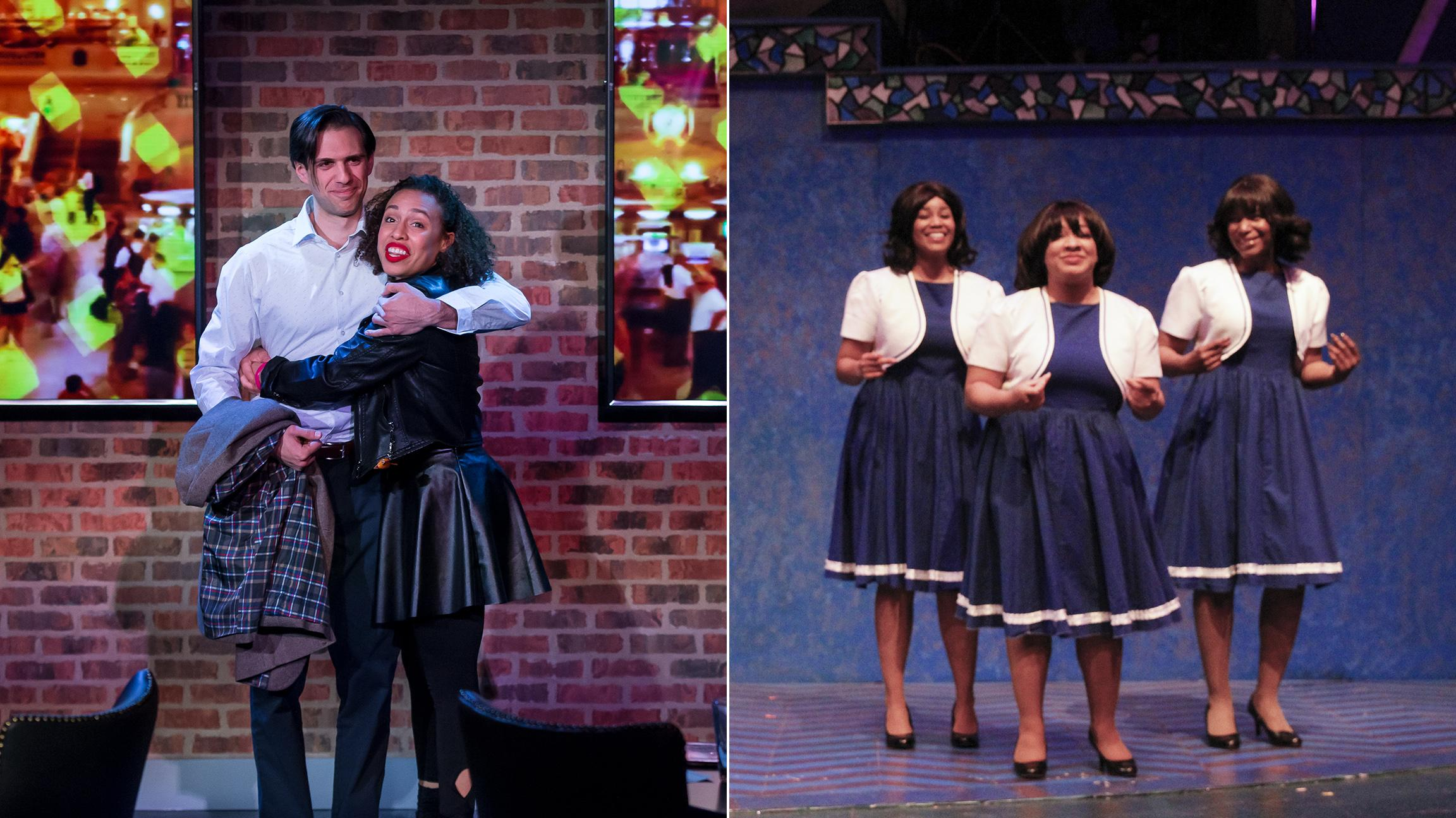 "Left: David Sajewich, Kyrie Courter in ""Company."" (Photo by Brett A. Beiner). Right: Renelle Nicole, Jessica Brooke Seals and Kylah Williams in ""A New Attitude."" (Photo credit: Alan Davis)"