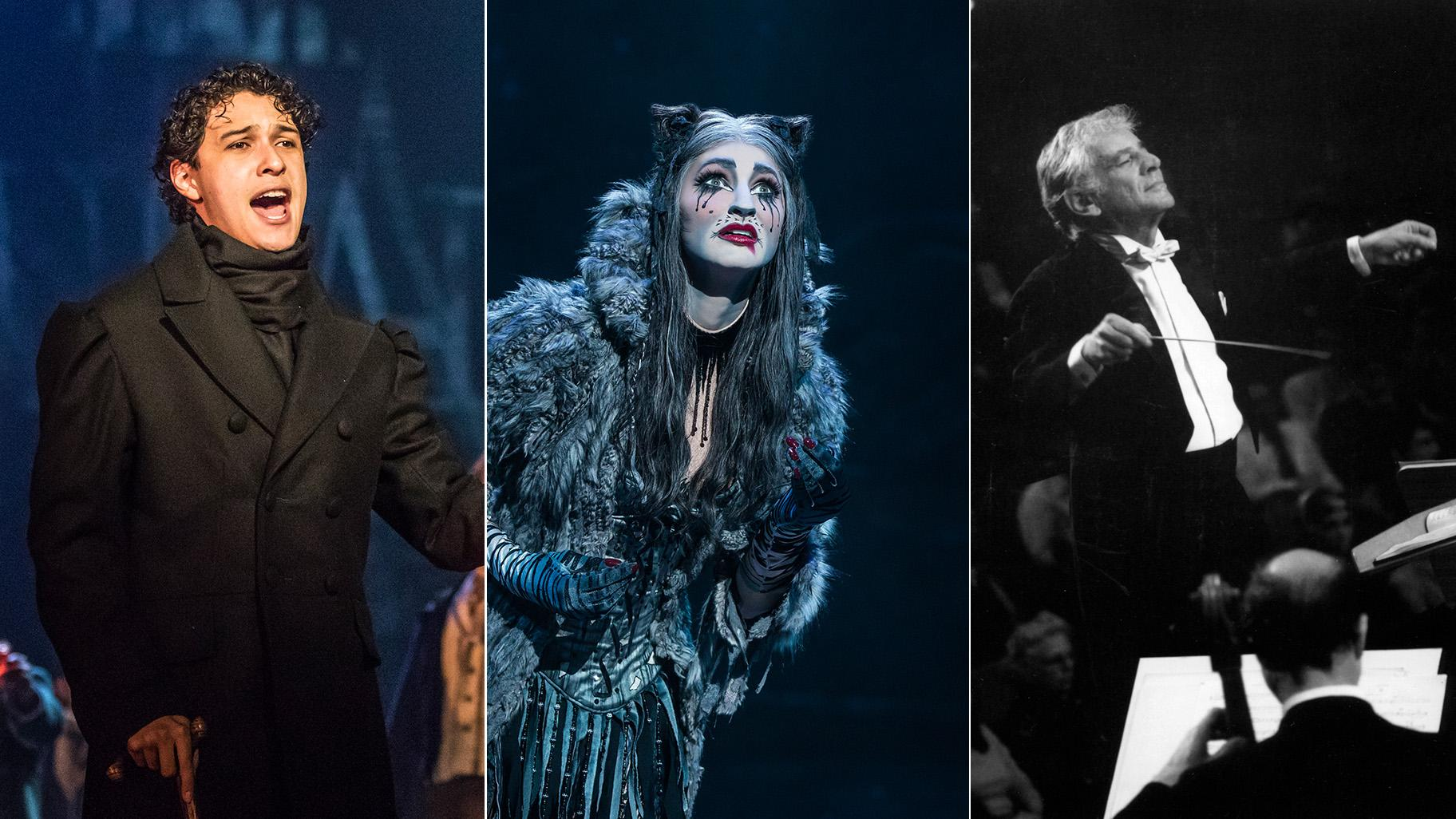 "From left: Joshua Grosso in ""Les Miserables""; Keri René Fuller in ""Cats""; and Leonard Bernstein. (Photos by Matthew Murphy / Courtesy of Ravinia Festival)"