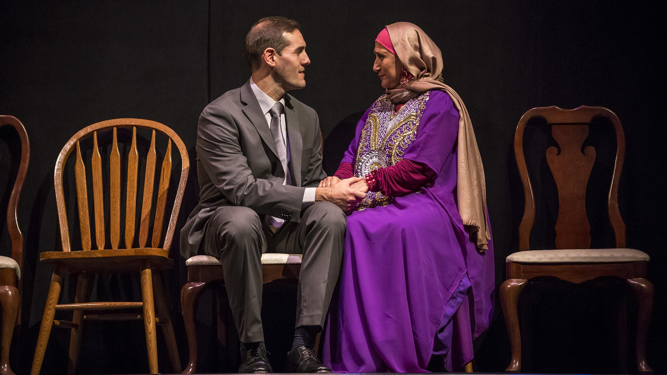 "Michael Perez (Sam) and Laura Crotte (Sara) in ""Yasmina's Necklace"" at Goodman Theatre. (Photo by Liz Lauren)"