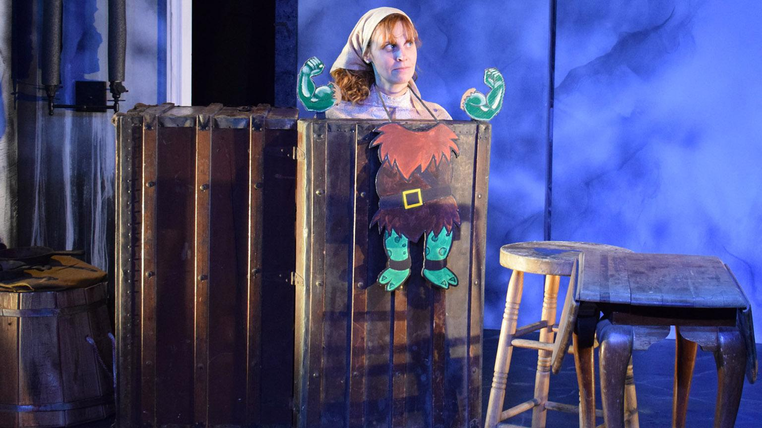 "Nicole Bloomsmith in Strawdog Theatre Company's world premiere of ""Hershel and the Hanukkah Goblins."" (Photo by Collin Quinn Ric)"