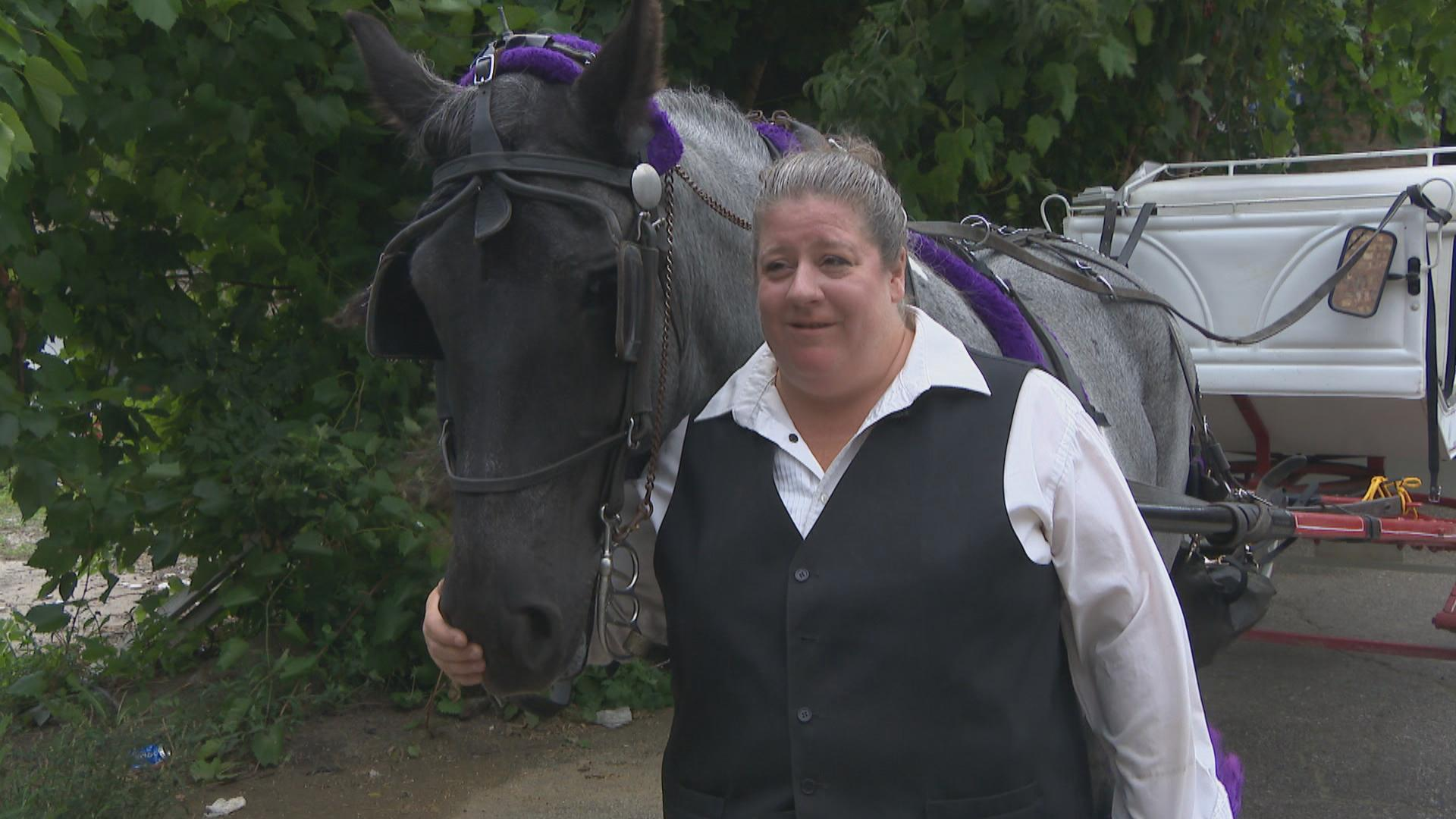 Cathy McFadden works for Antique Coach & Carriage in Chicago. She's operated horse-drawn carriages for 35 years.