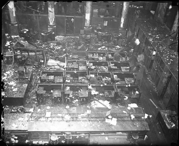 The interior of the building after the crash