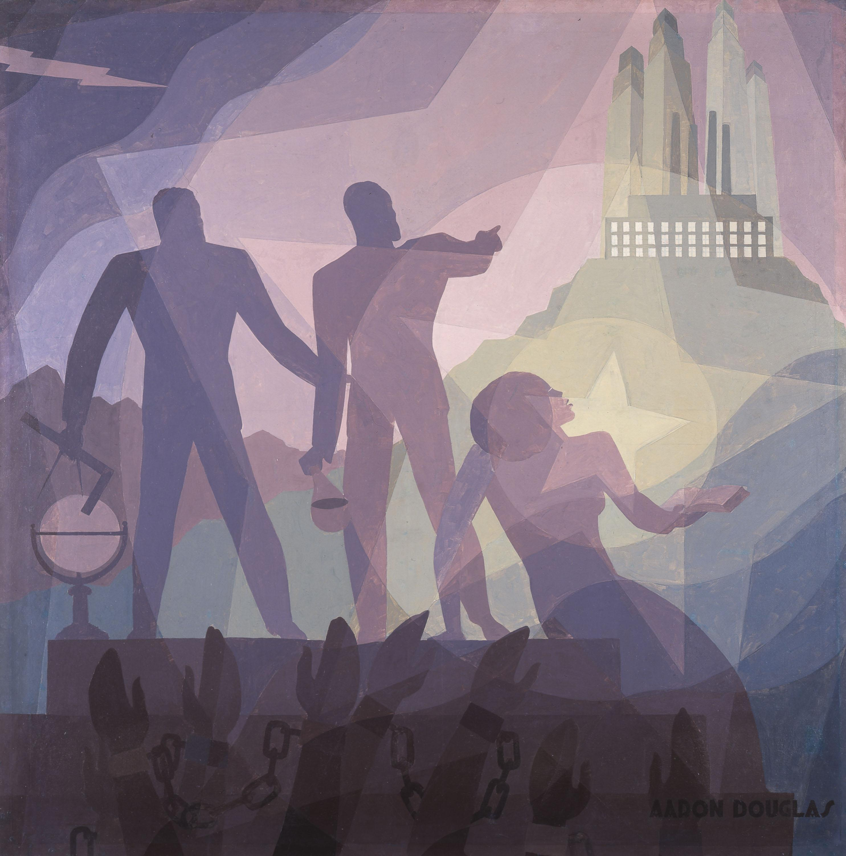 "Aaron Douglas, ""Aspiration,"" 1936. (Fine Arts Museum of San Francisco, Museum purchase.)"