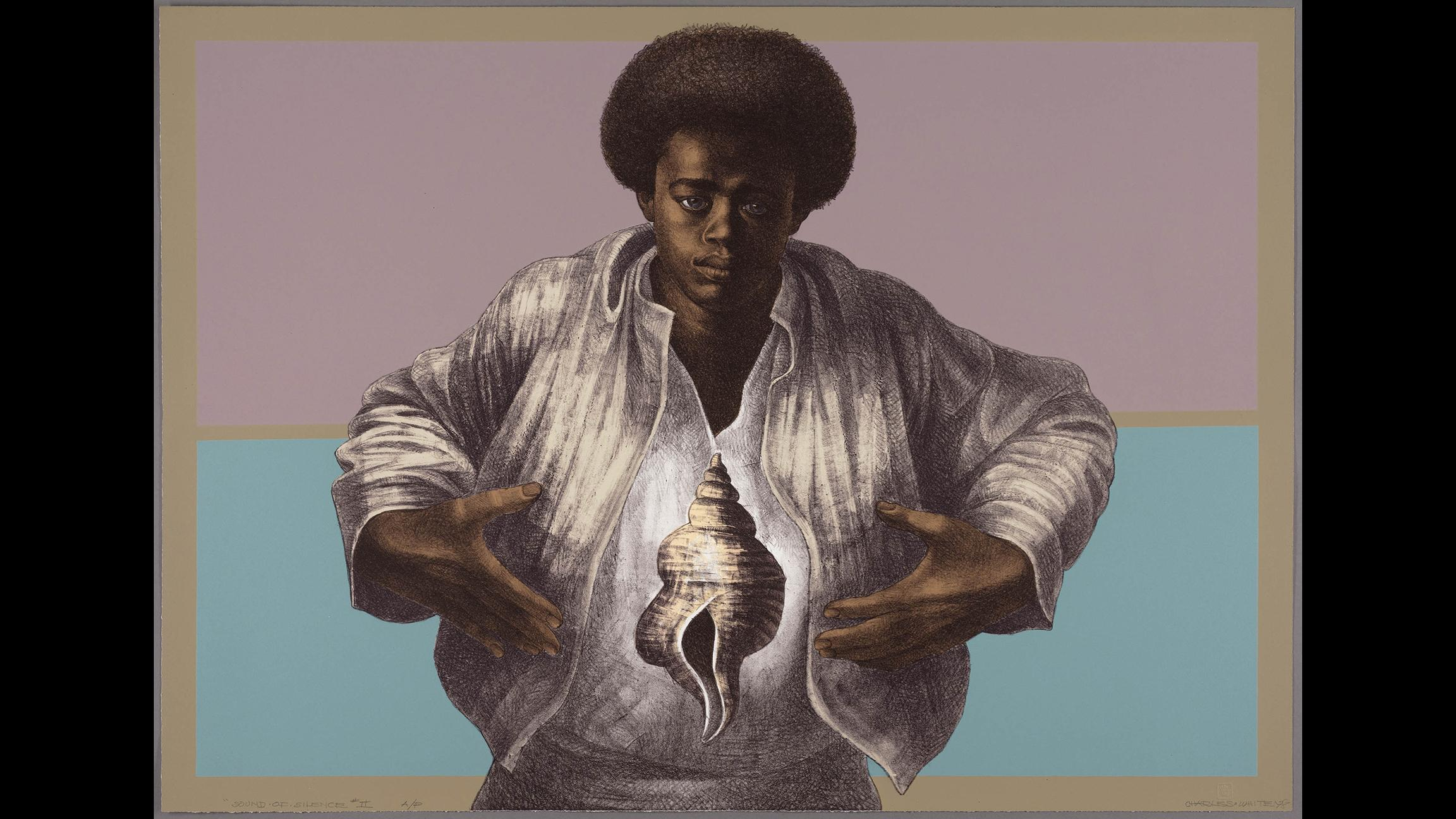 "Charles White, printed by David Panosh, published by Hand Graphics, Ltd. ""Sound of Silence,"" 1978. The Art Institute of Chicago, Margaret Fisher Fund. (© The Charles White Archives Inc.)"