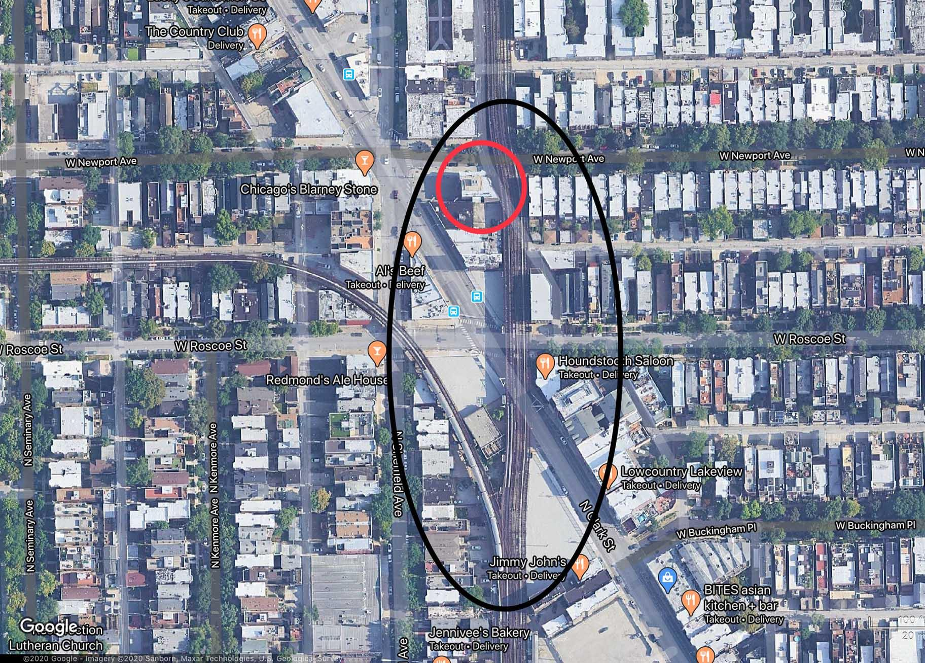An overview shows the section of CTA track that will be straightened out, circled in black, with the location of the Vautravers Building, circled in red. (Credit: Google Maps)