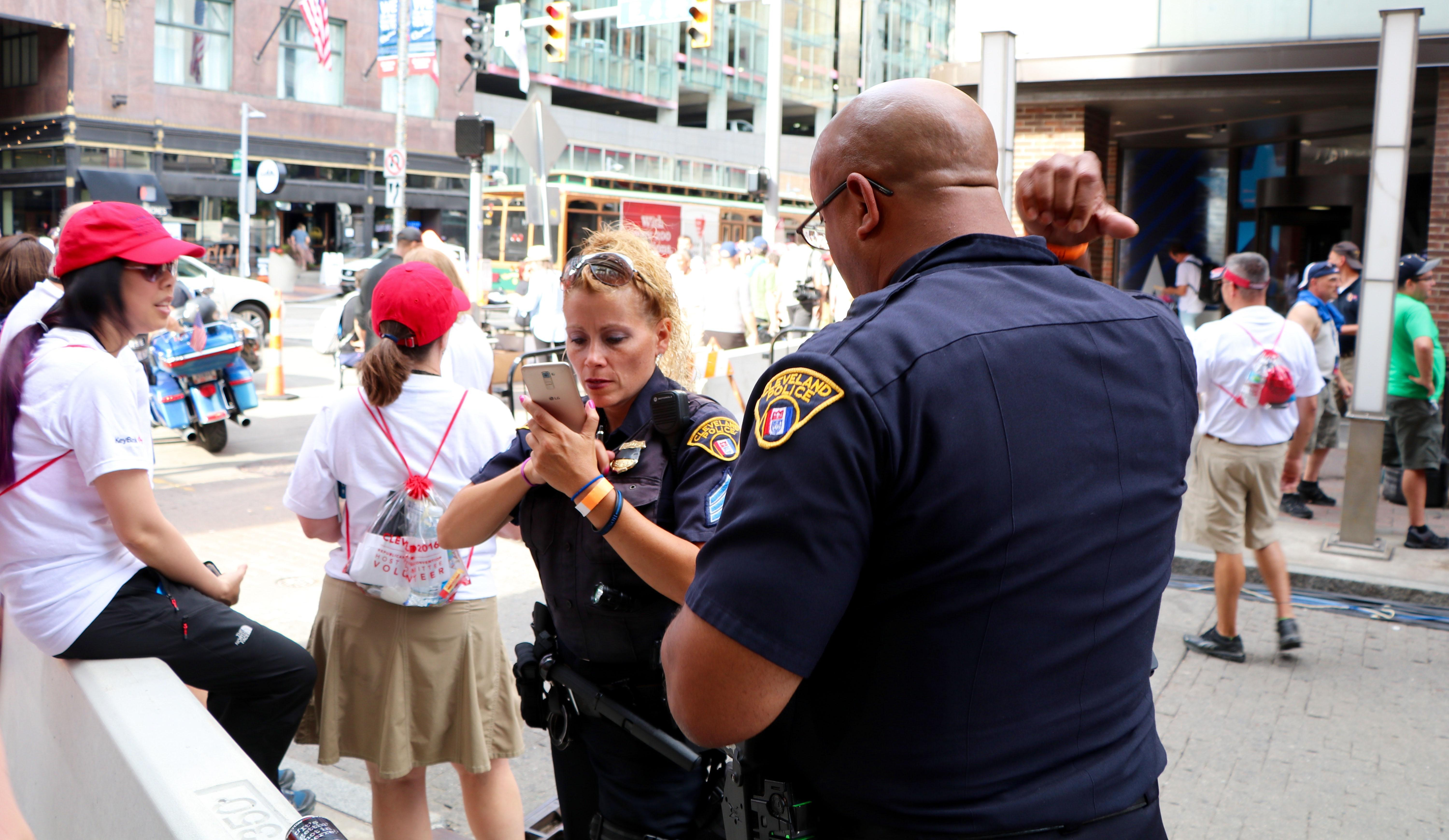 Cleveland police officers outside of the Quicken Loans Arena. (Evan Garcia)