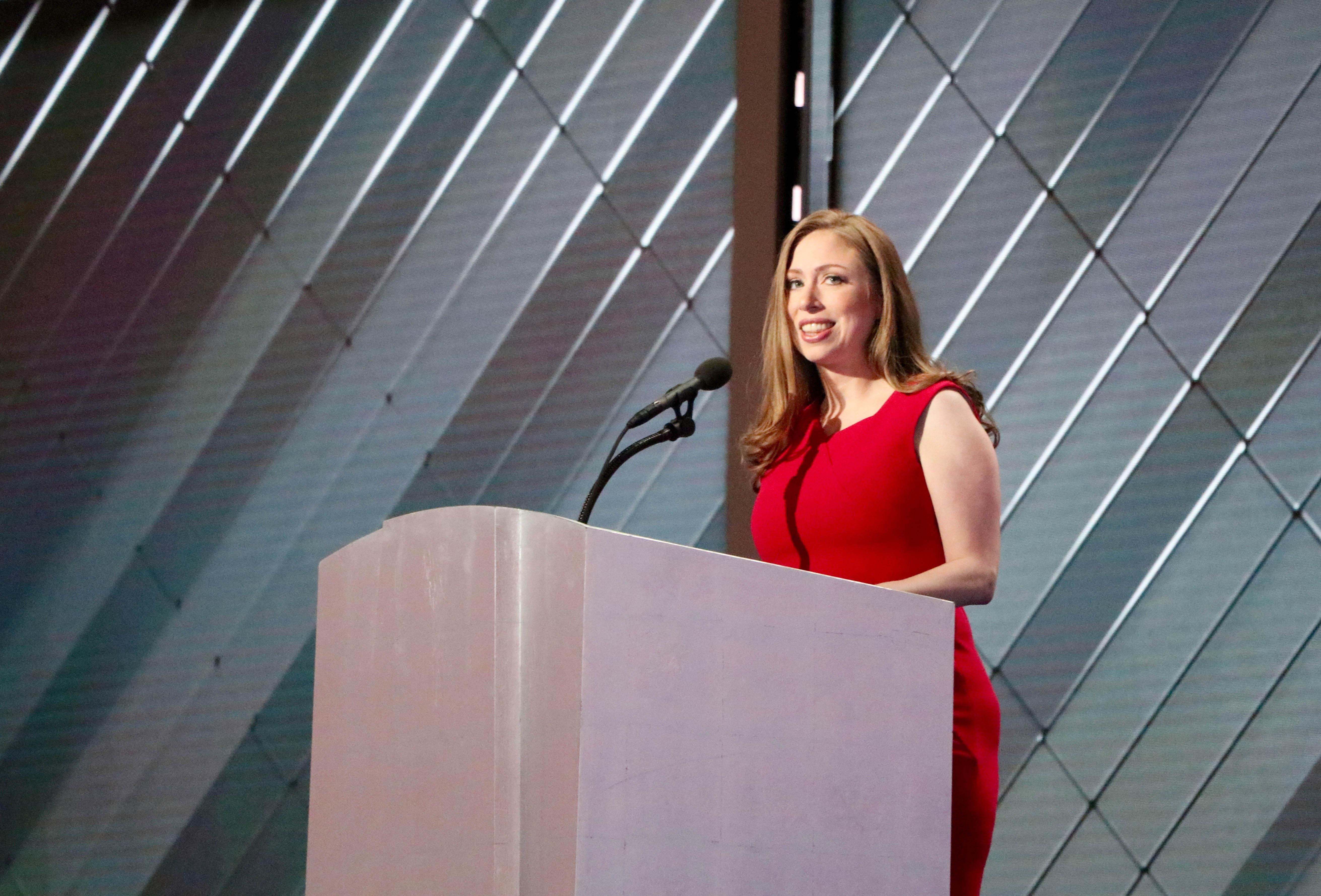 Chelsea Clinton addresses the Democratic National Convention, sharing stories of what she's learned from her mother, Hillary. (Evan Garcia / Chicago Tonight)