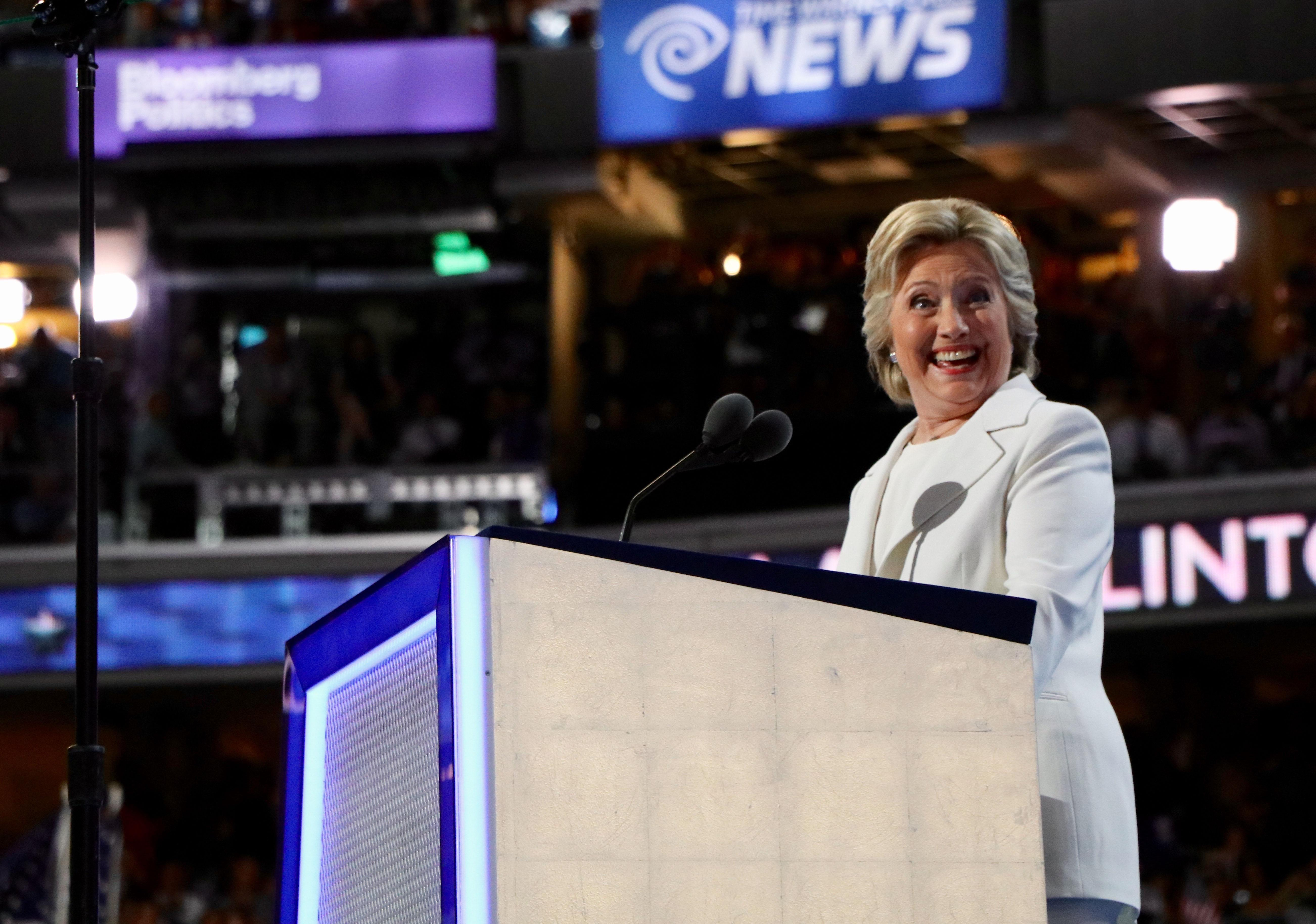 Democratic presidential nominee Hillary Clinton formally accepts her party's nomination on the final night of the Democratic National Convention. (Evan Garcia / Chicago Tonight)