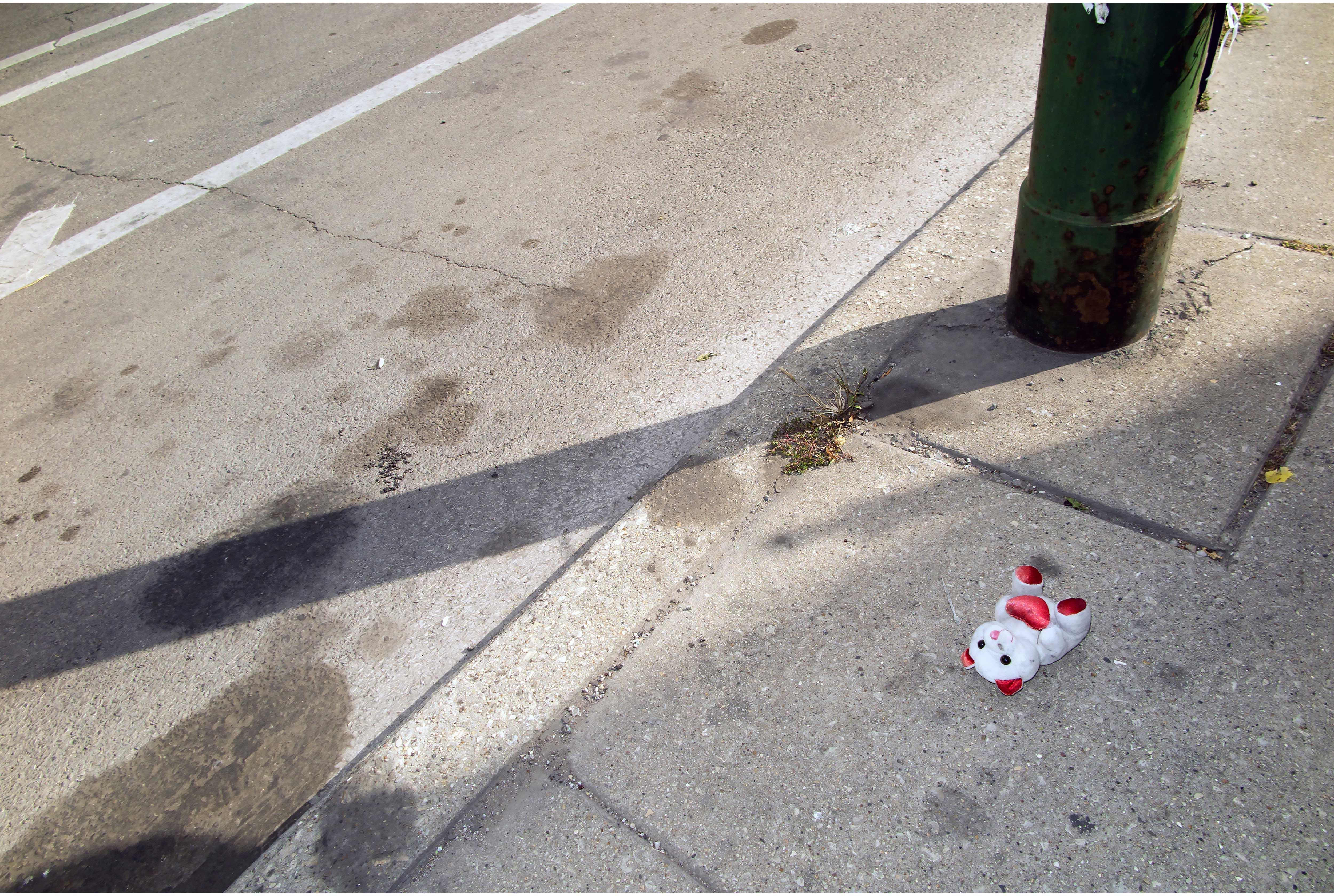 A teddy bear placed at the memorial for a man killed in West Englewood. (Courtesy of Thomas Ferrella)