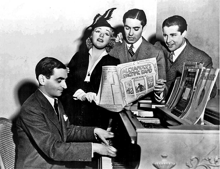 "Irving Berlin and the stars of the film, ""Alexander's Ragtime Band,"" in 1938."