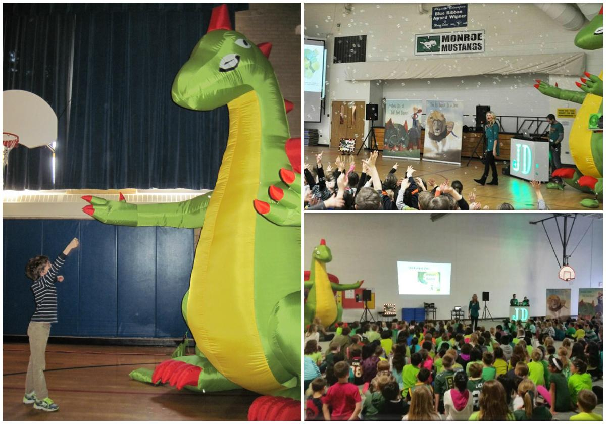 "Photos from left clockwise: A student who has autism slays the dragon during an assembly for ""Joshua's Dragon."" (Courtesy of Manning Elementary). Stacey Glorioso leads an assembly. (Courtesy of Monroe Elementary). Students at Kinglsey Elementary learn to become dragon slayers. (Courtesy of Kinglsey Elementary)"