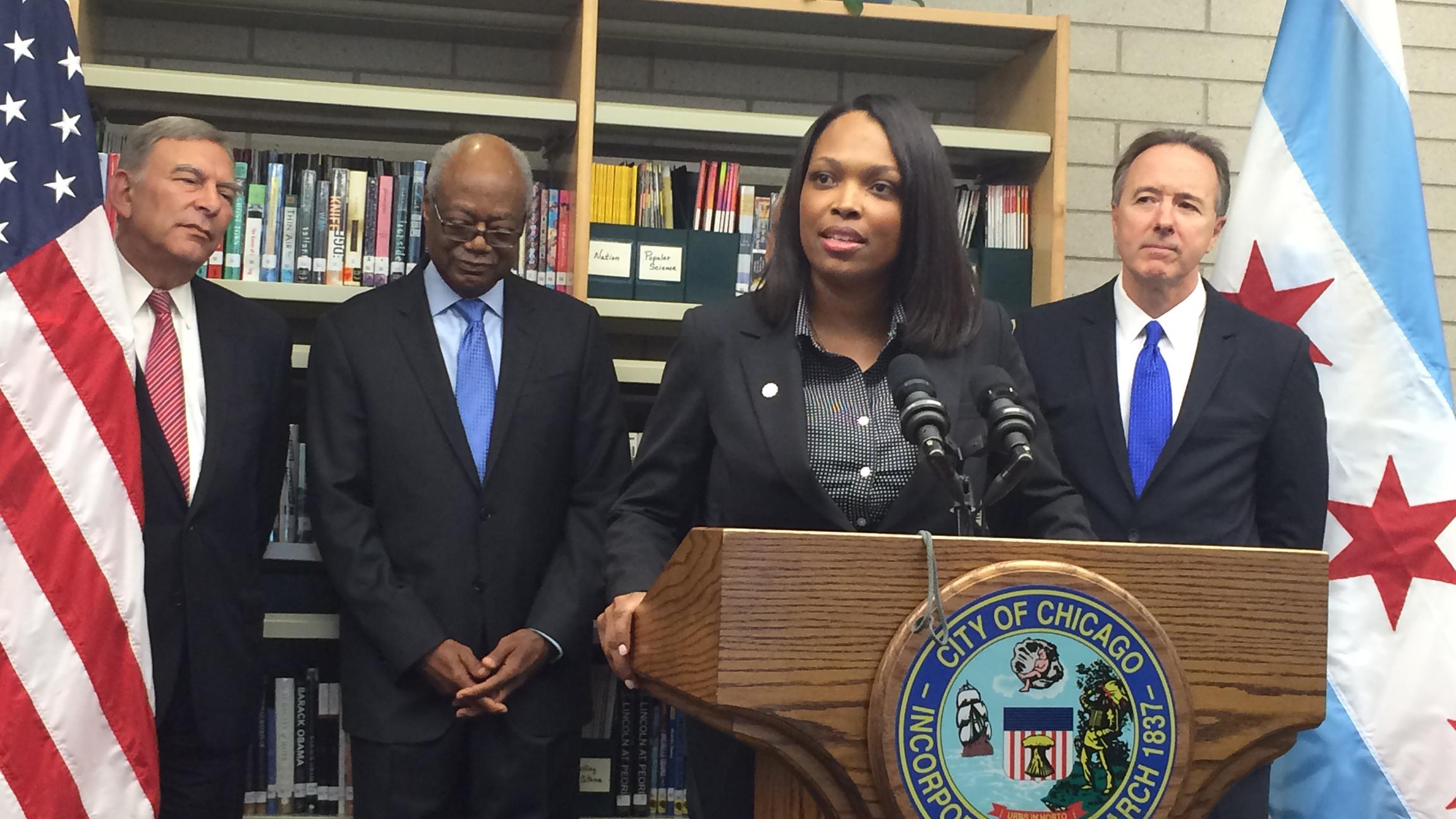 Janice Jackson speaks on July 16, 2015 after being named new chief education officer for Chicago Public Schools. On Dec. 8, she became the district's fourth interim or full-time CEO since 2015.