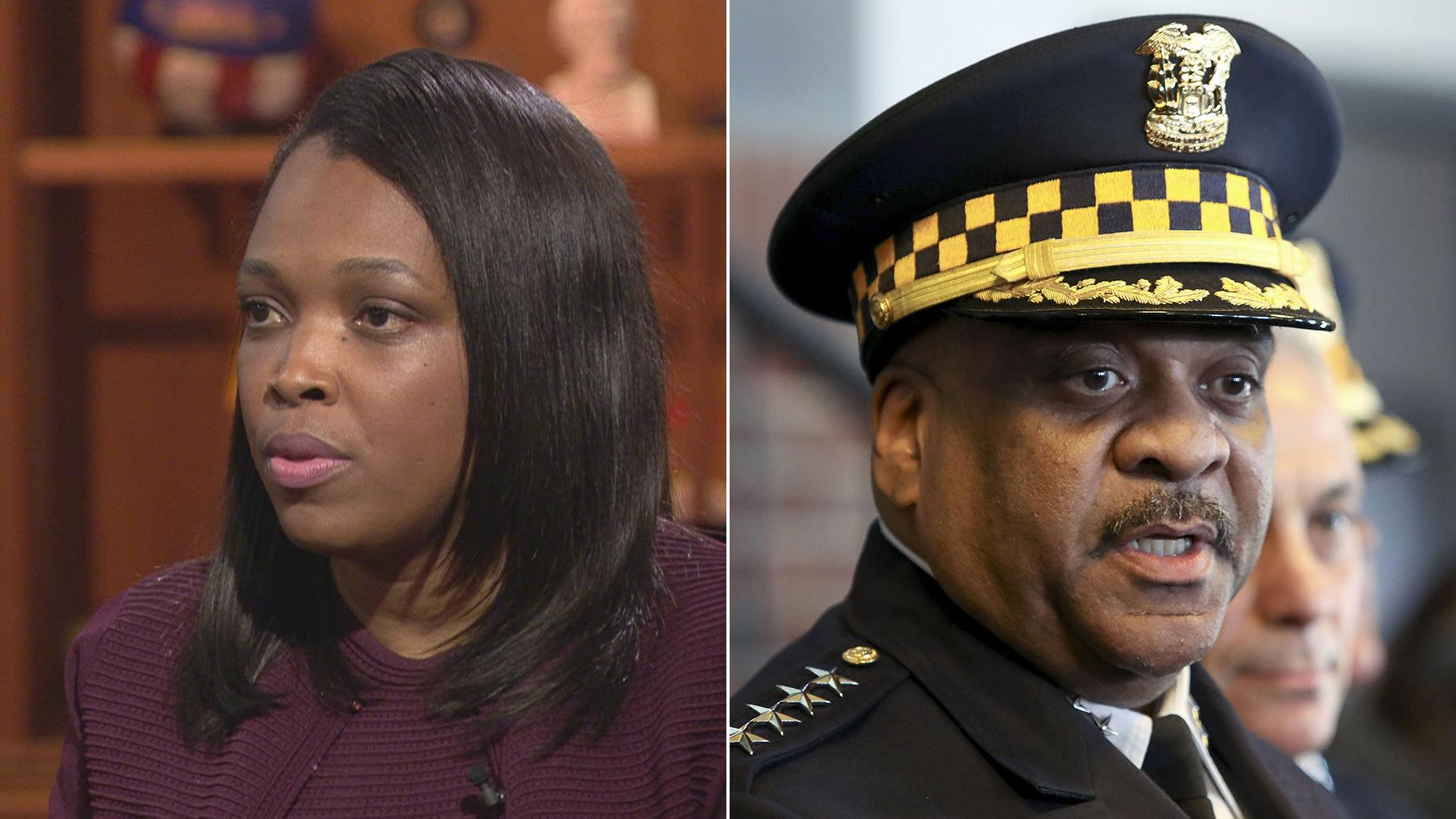 "Janice Jackson, left, appears on ""Chicago Tonight"" on April 19, 2018. Eddie Johnson, right, speaks during a news conference Tuesday, March 26, 2019. (AP Photo / Teresa Crawford)"